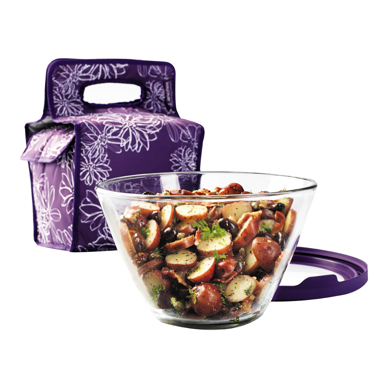 Anchor Hocking 4 Quart Glass Mixing and Serving Bowl with Eggplant Lid and Tote Set