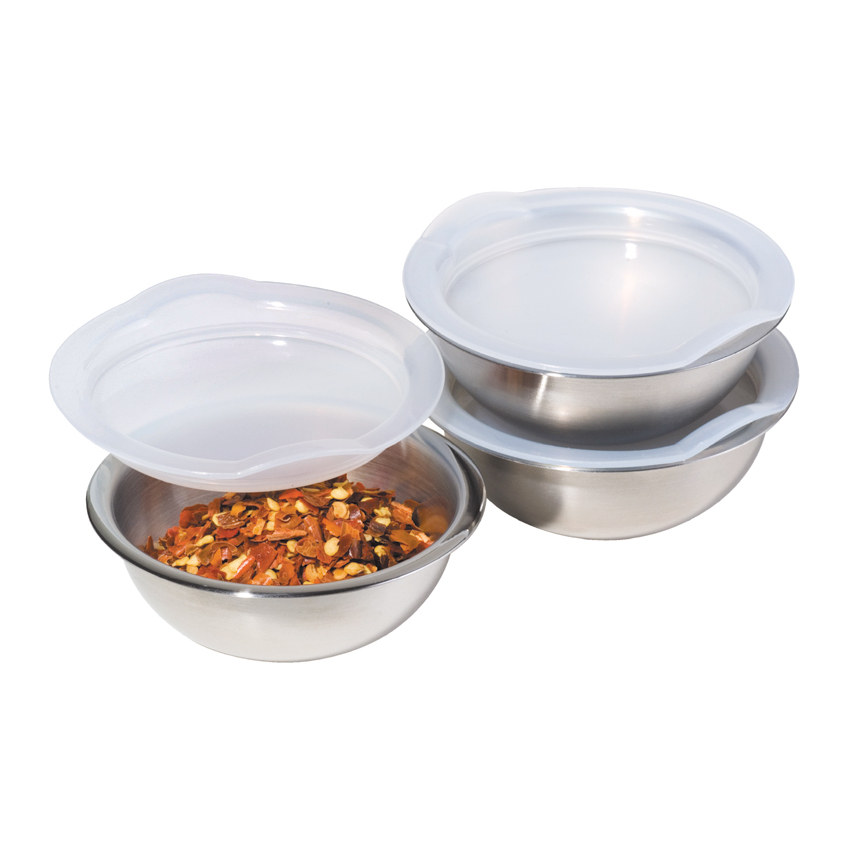 Oggi Satin Finish Stainless Steel 3 Piece 3 Ounce Pinch Bowl Set with Lids