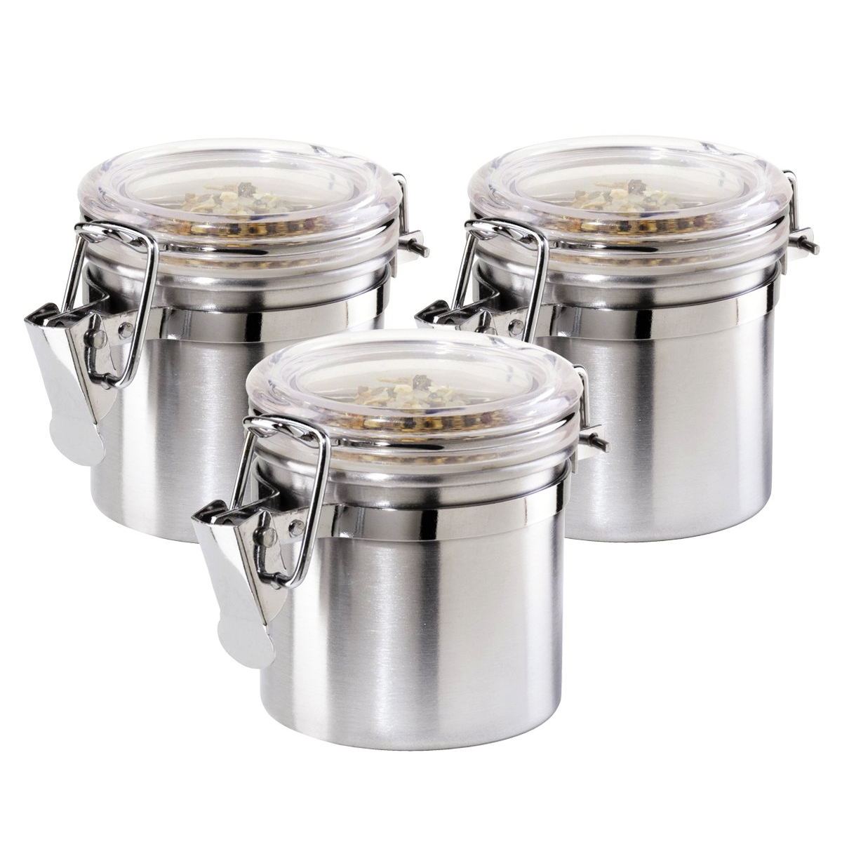 OGGI Satin Finish Stainless Steel 3 Ounce Mini Canister with Airtight Clamp Lid, Set of 3