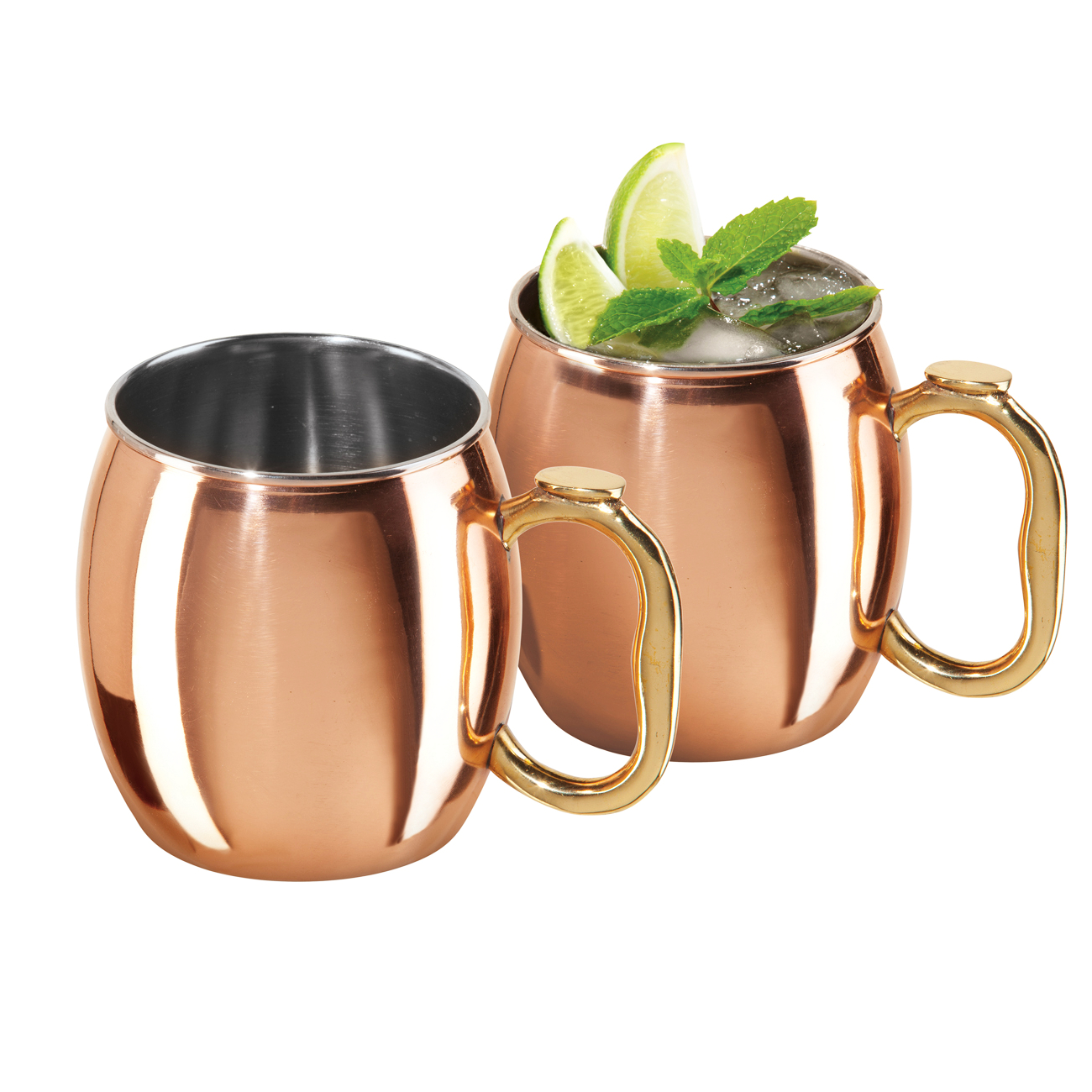 Oggi Moscow Mule Copper Plated Stainless Steel 20 Ounce Mug, Set of 2