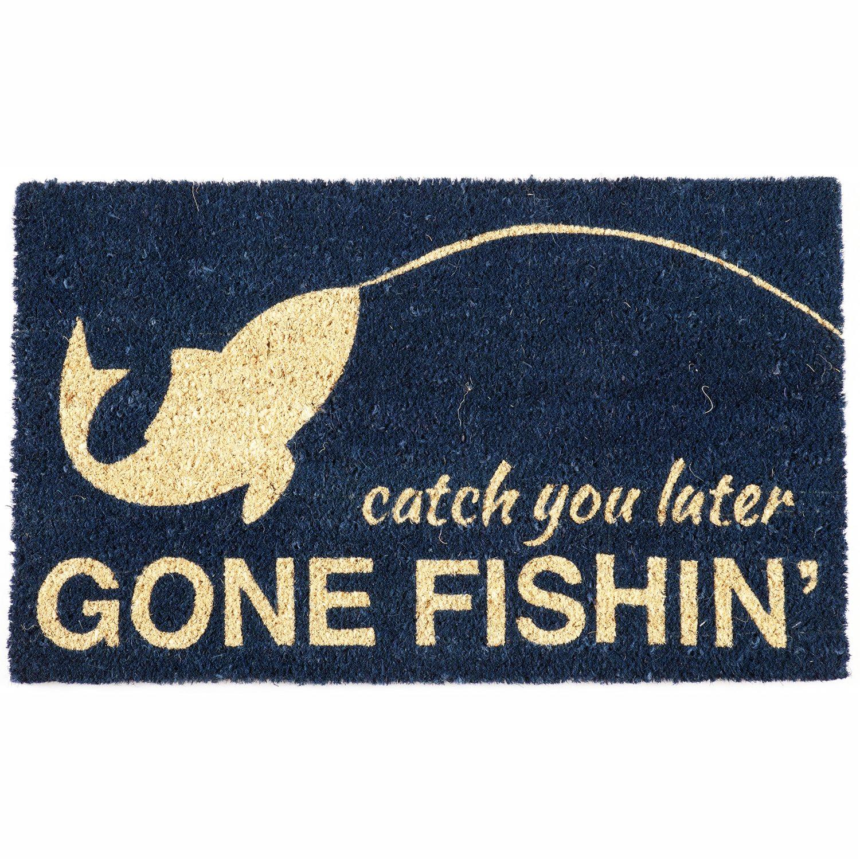 Entryways Gone Fishin Non-Slip Handwoven Coconut Fiber Coir 17 x 28 Inch Doormat