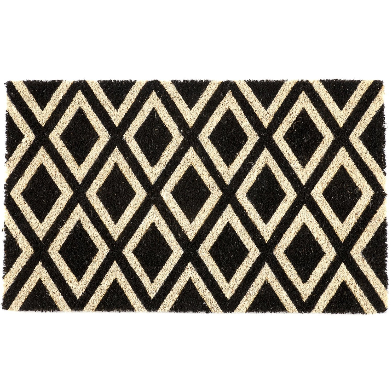 Entryways Rhombi Non-Slip Handwoven Coconut Fiber Coir 17 x 28 Inch Doormat