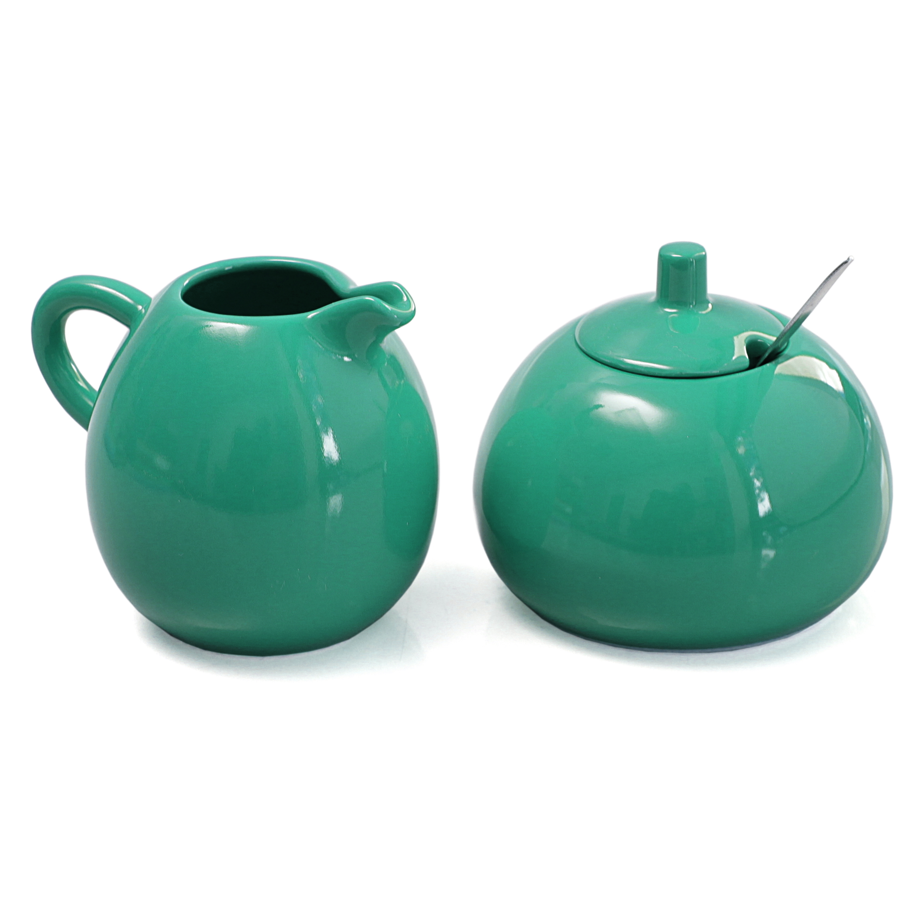 Omniware Teal Stoneware 5 Ounce Sugar And Creamer Set With Stainless Steel Spoon