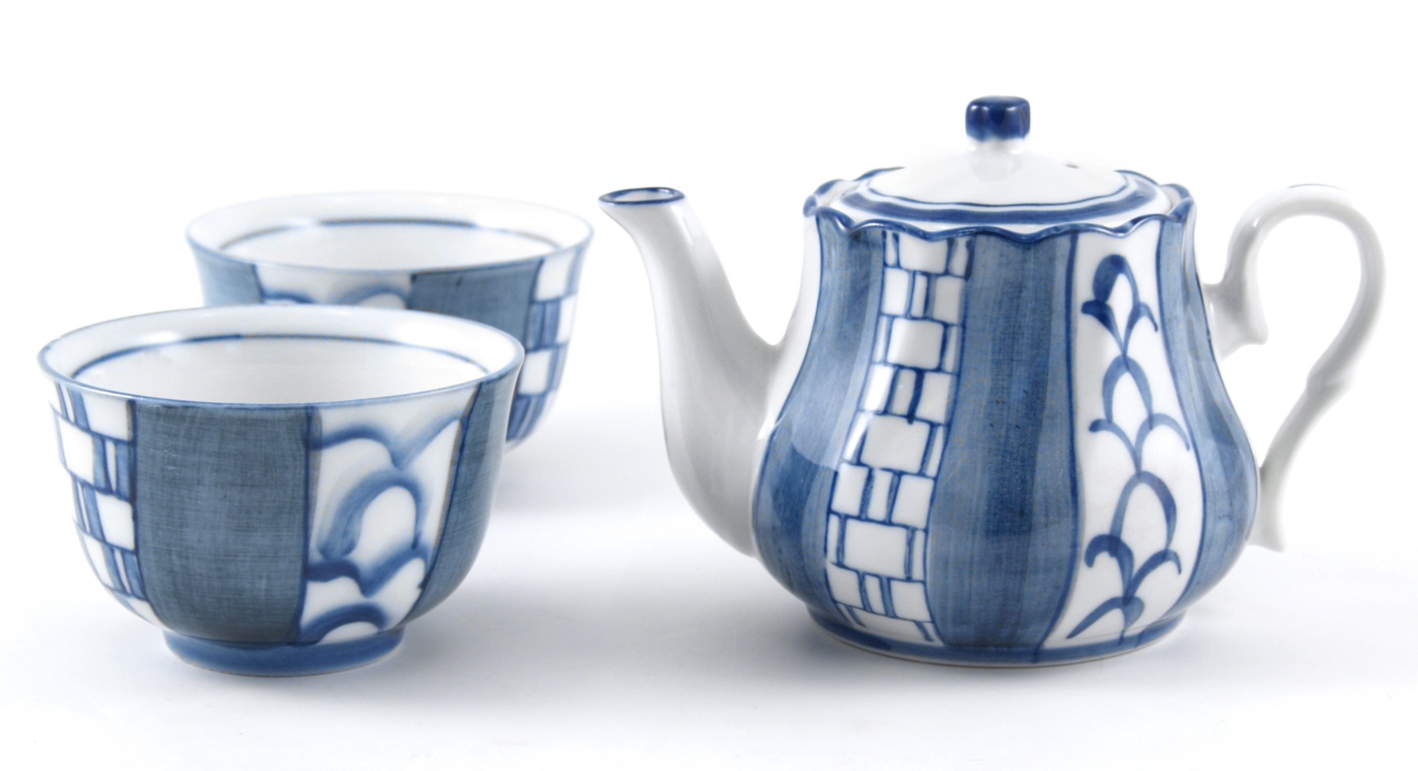 Asian Blue Basket Weave Teapot Set with Cups, 3 Piece