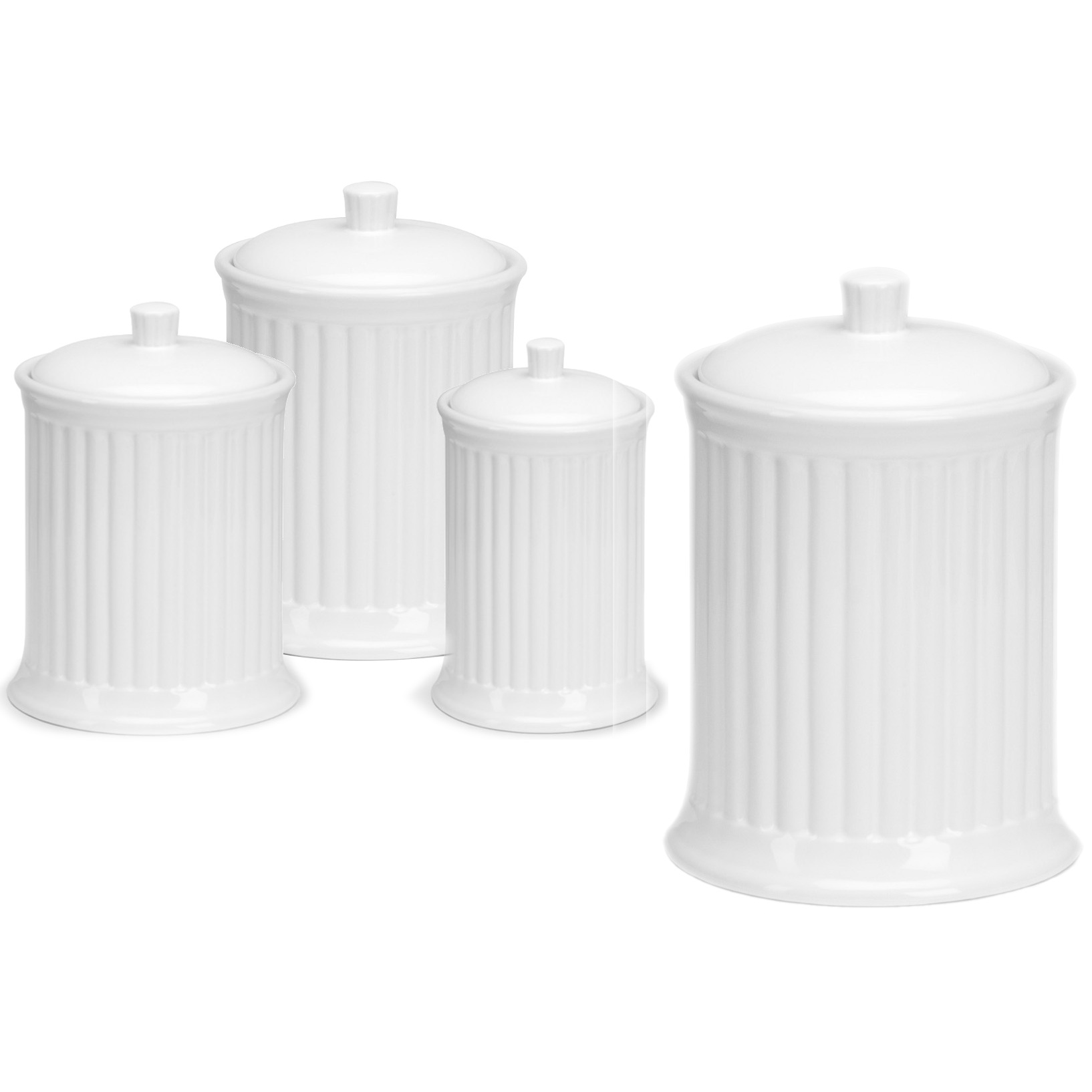 OmniWare Simsbury White Stoneware Canister, Set of 4