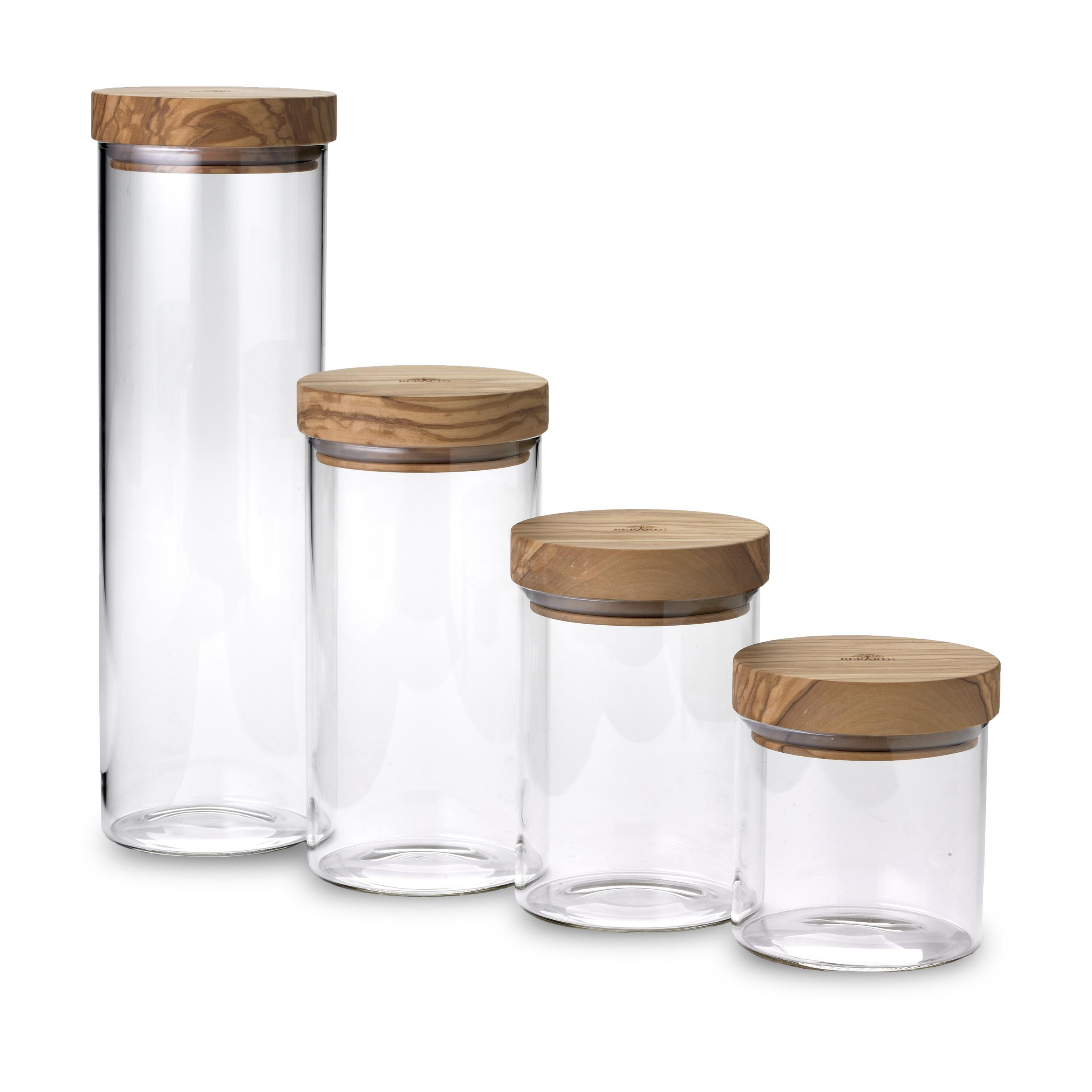 Berard Glass Jar With Olive Wood Lid, Set Of 4