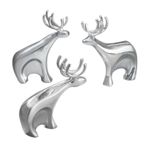 Nambe Holiday Metal Alloy Dasher Reindeer, Set of 3