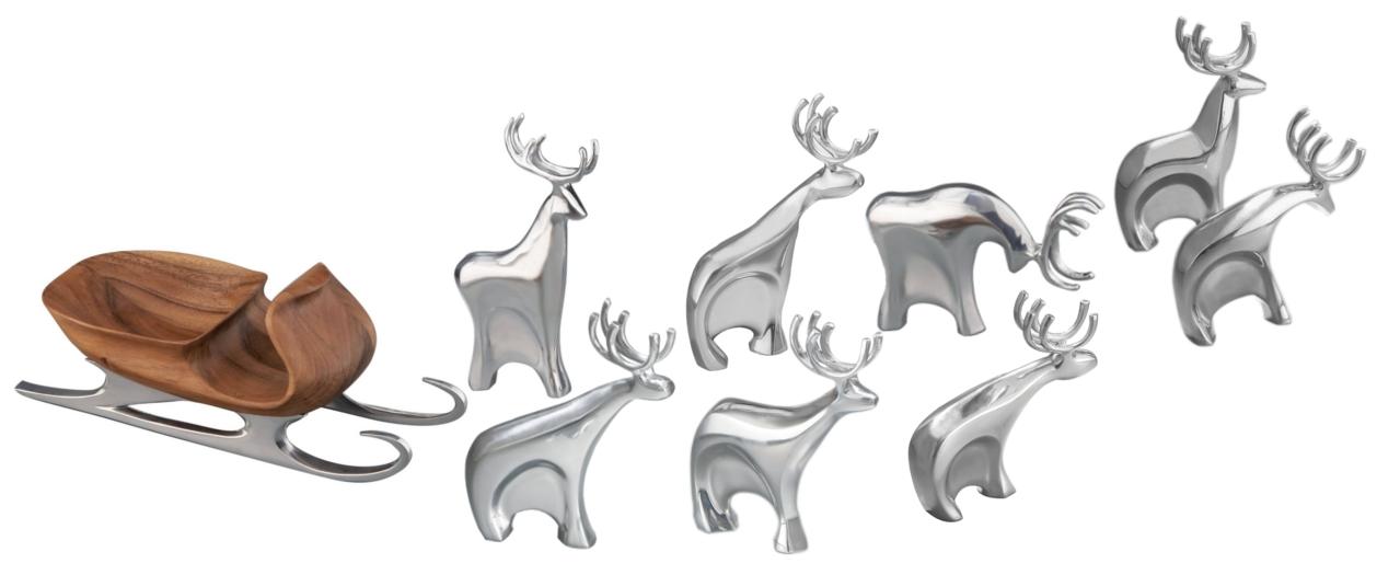 Nambe 9 Piece Metal Alloy Sleigh and Reindeer Set
