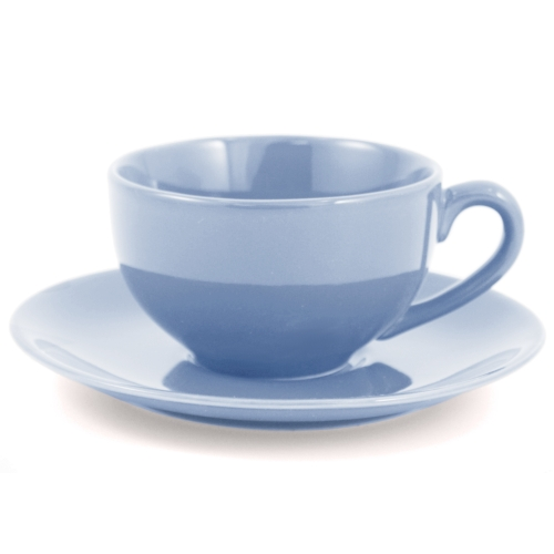 Metropolitan Tea Powder Blue Ceramic Teacup and Saucer Set