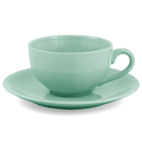 Metropolitan Tea Sea Foam Green Ceramic Teacup and Saucer Set