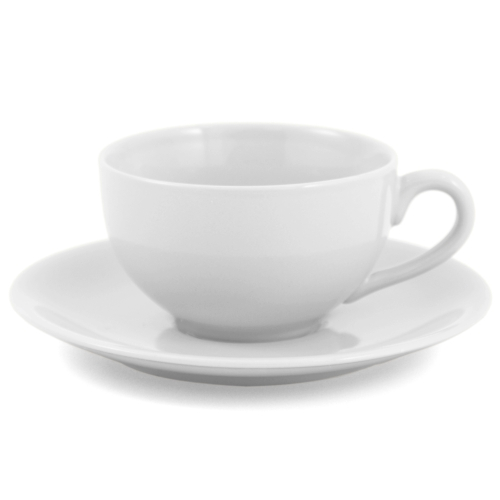 Metropolitan Tea White Ceramic Teacup and Saucer Set