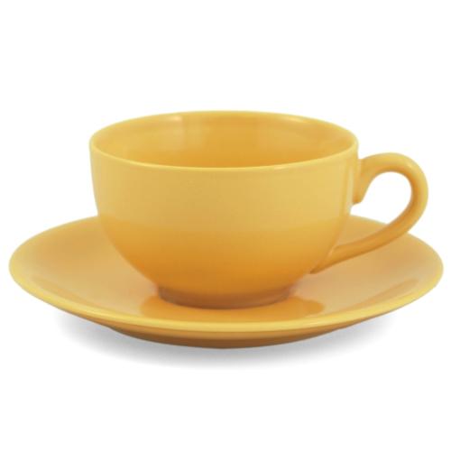 Metropolitan Tea Yellow Ceramic Teacup and Saucer Set