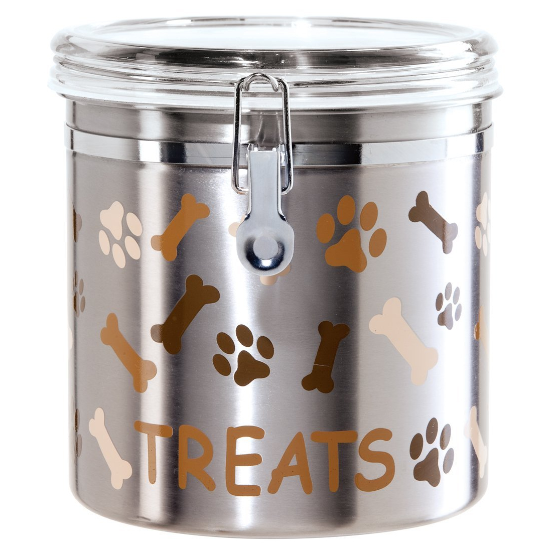 Oggi Paws and Bones Satin Finish Stainless Steel 130 Ounce Treat Jar