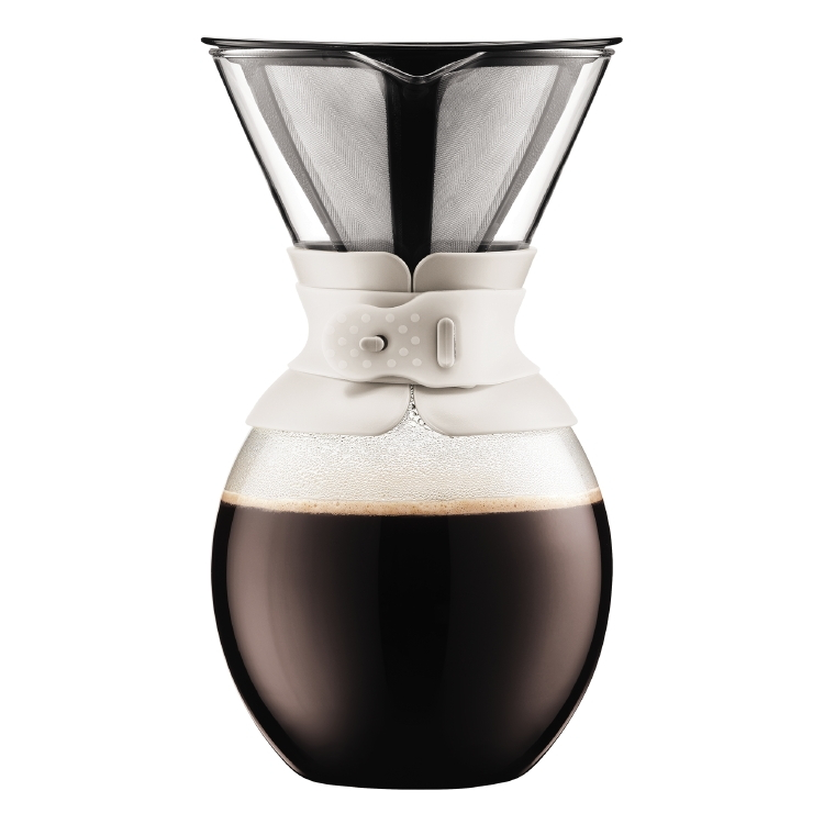 Bodum Pour Over 51 White Ounce Coffee Maker with Permanent Filter