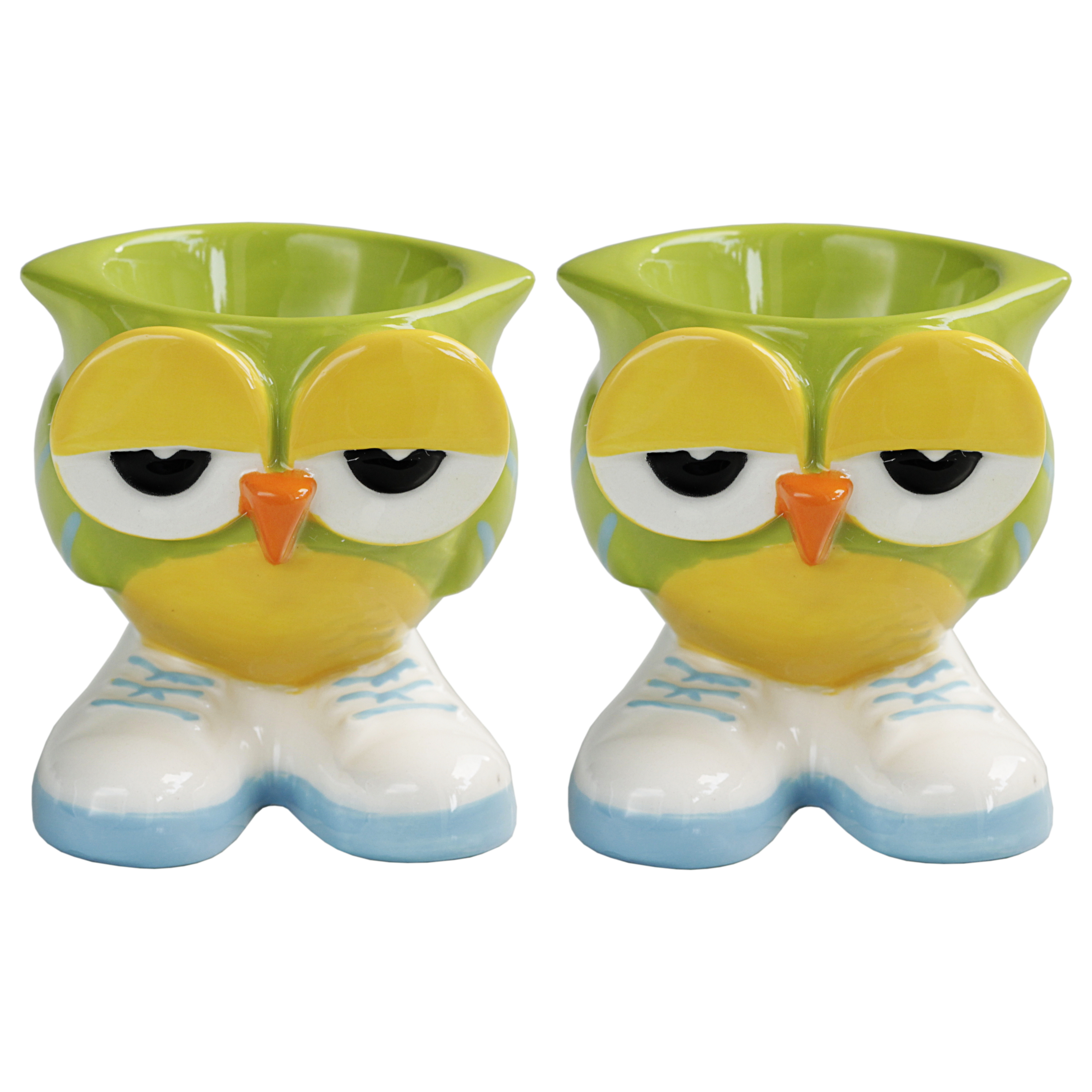 Grasslands Road Green Hand Painted Stoneware Owl Egg Cup, Set of 2