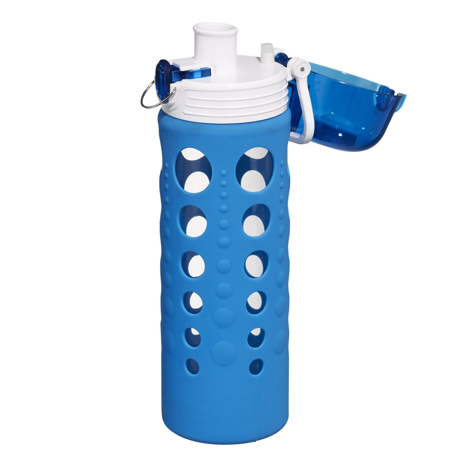 Artland 247 Glass 20 Ounce Hydration Bottle with Blue Silicone Sleeve