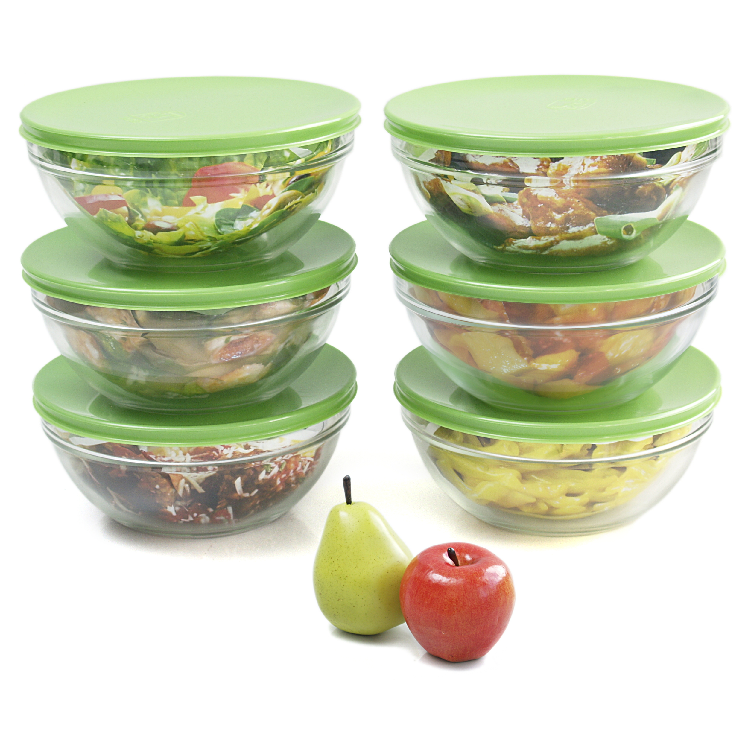 Arc Glass Stackable Refrigerator Storage Container With Green Apple Lid,  Set Of 6