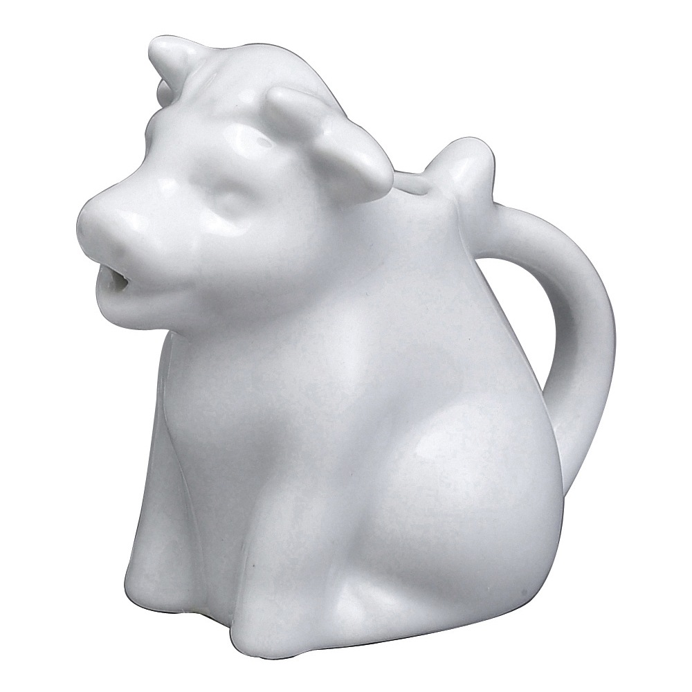 HIC Harold Import Co White Porcelain 2 Ounce Mini Cow Creamer