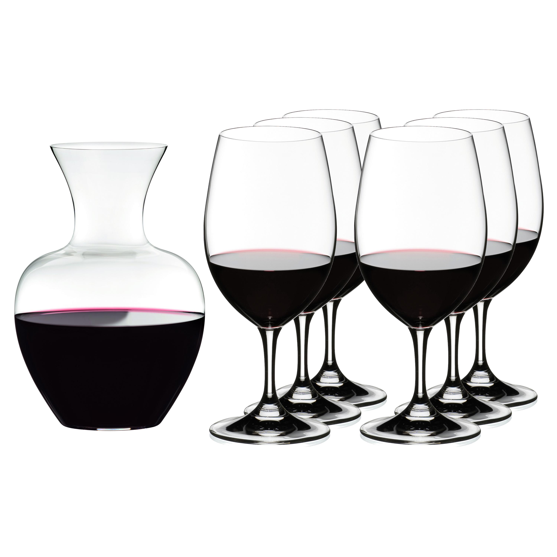 Riedel 7 Piece Ouverture Magnum Stemmed Wine Glasses with Apple Decanter Set