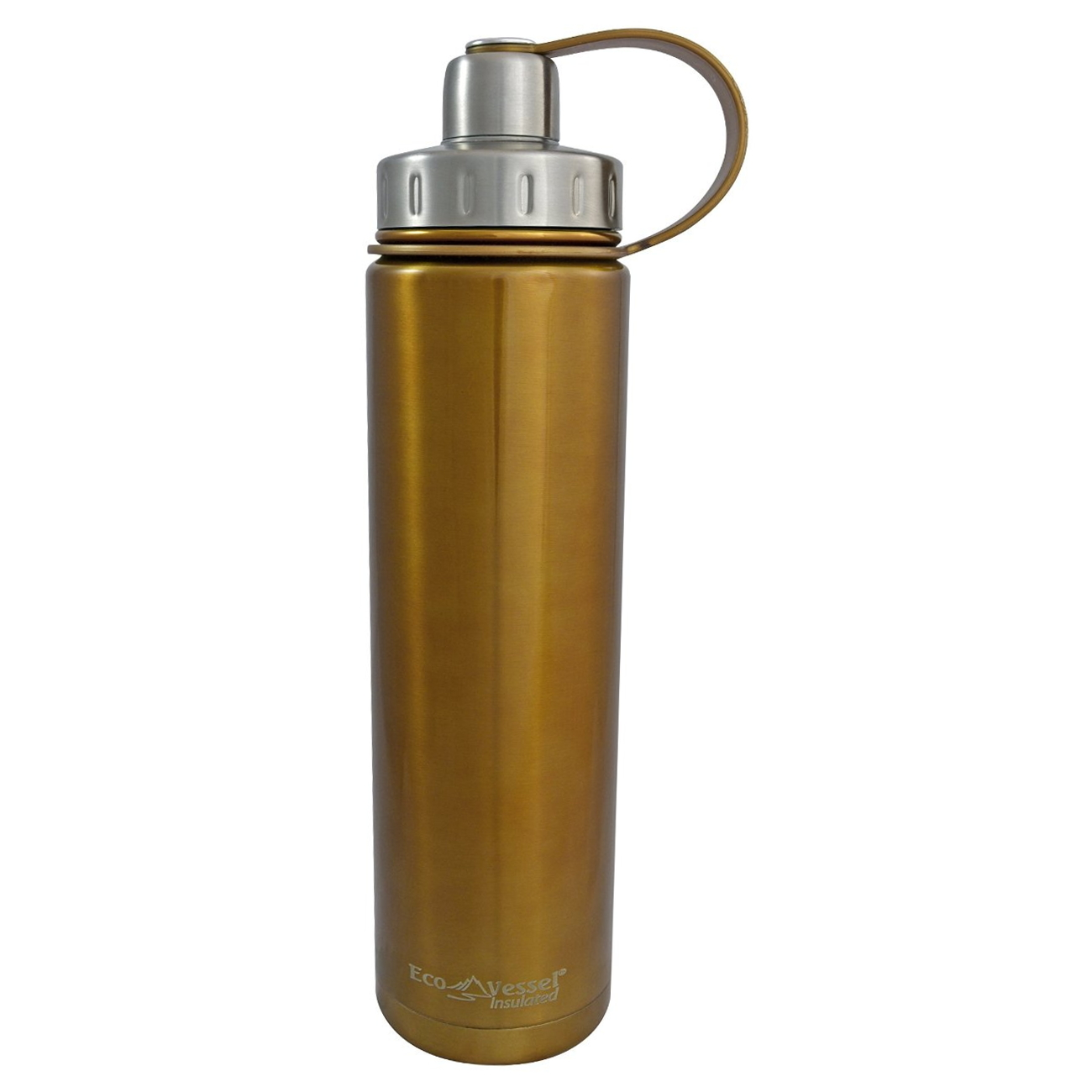 Eco Vessel Boulder TriMax Triple Insulated Golden Glow 24 Ounce Water Bottle with 2-Piece Screw Cap and Strainer