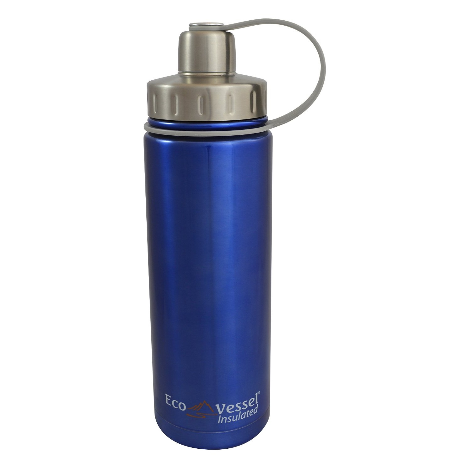 Eco Vessel Boulder TriMax Triple Insulated Blue Glow 20 Ounce Water Bottle with 2-Piece Screw Cap and Strainer