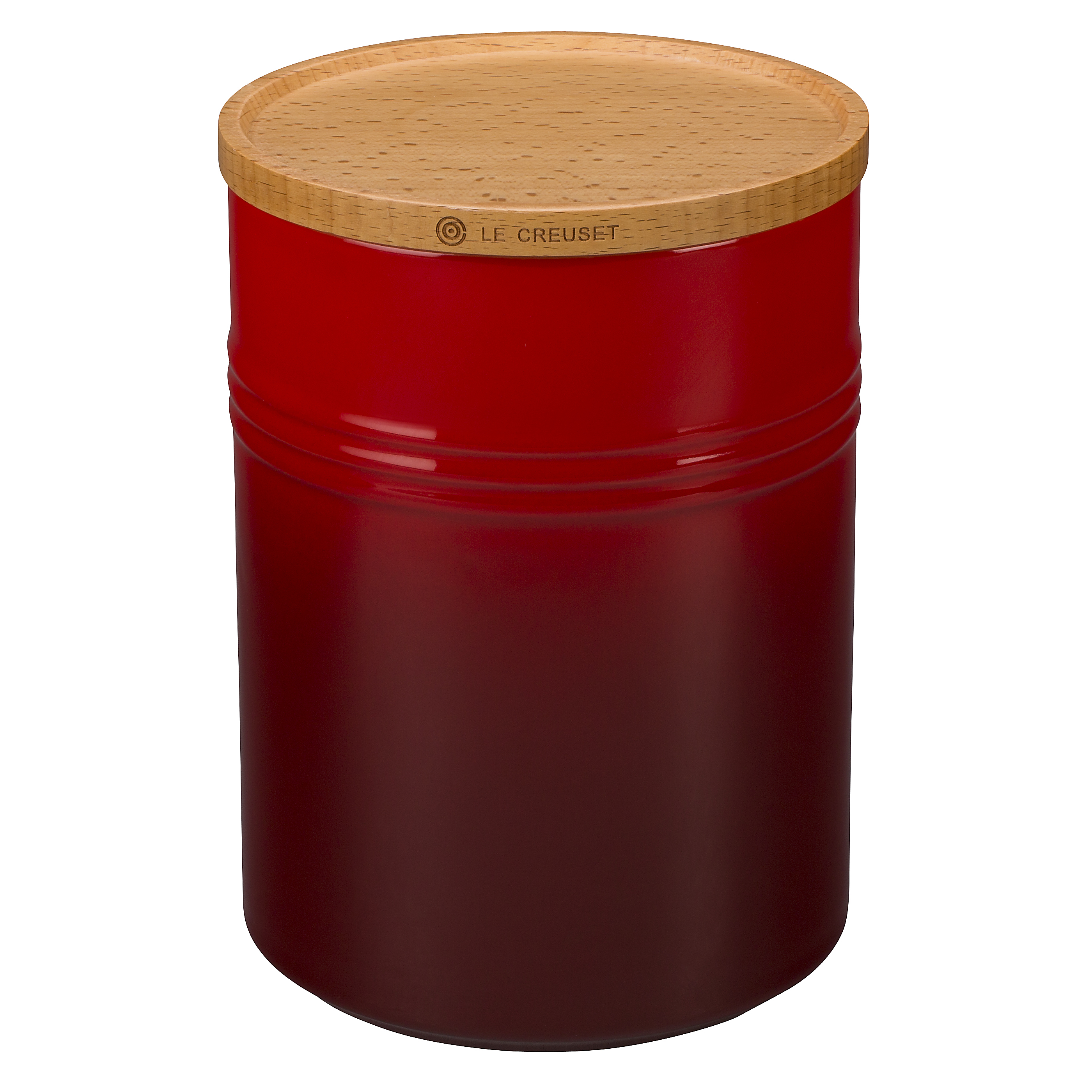 Le Creuset Cherry Stoneware 22 Ounce Canister with Wooden Lid