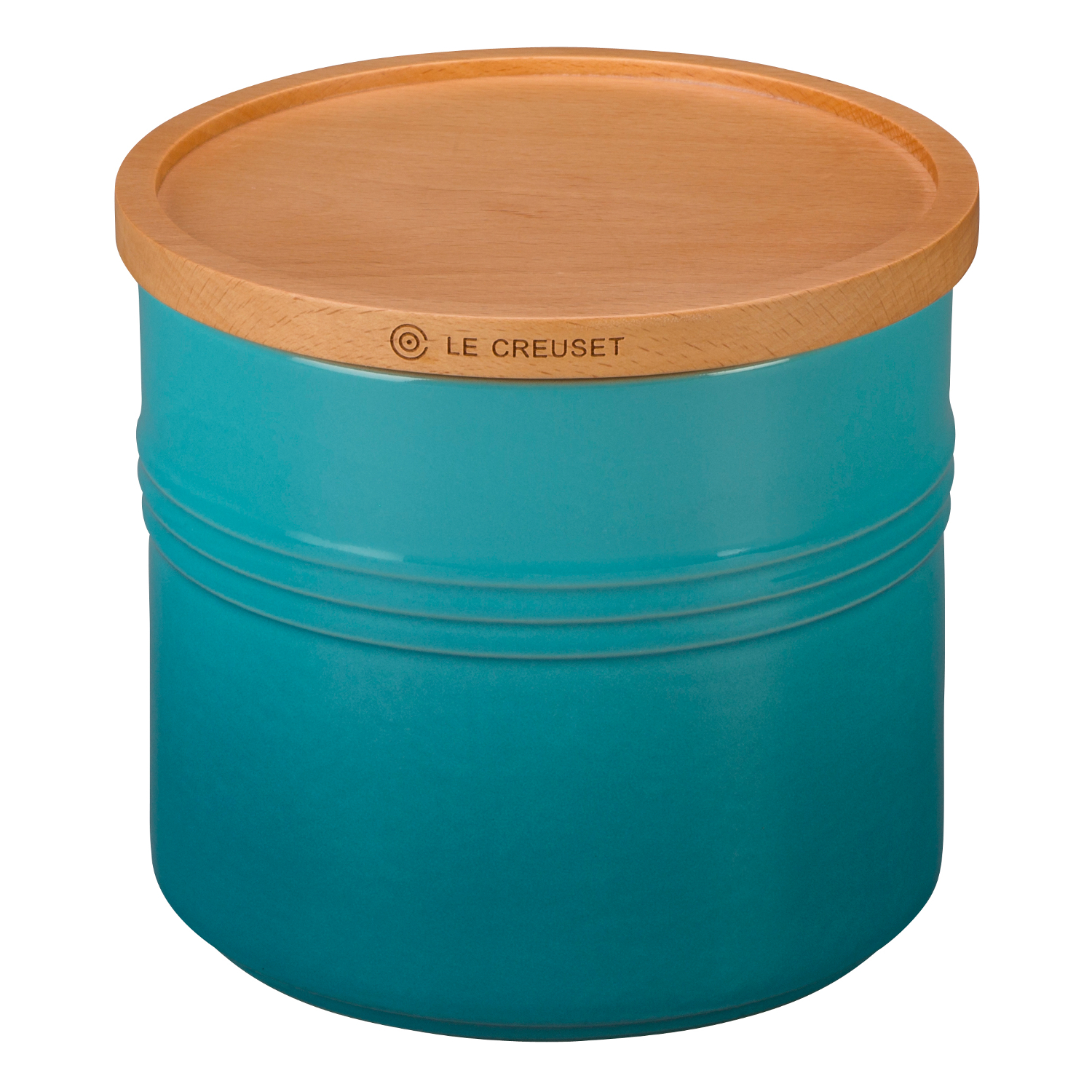 Le Creuset Caribbean Stoneware 1.5 Quart Canister with Wooden Lid