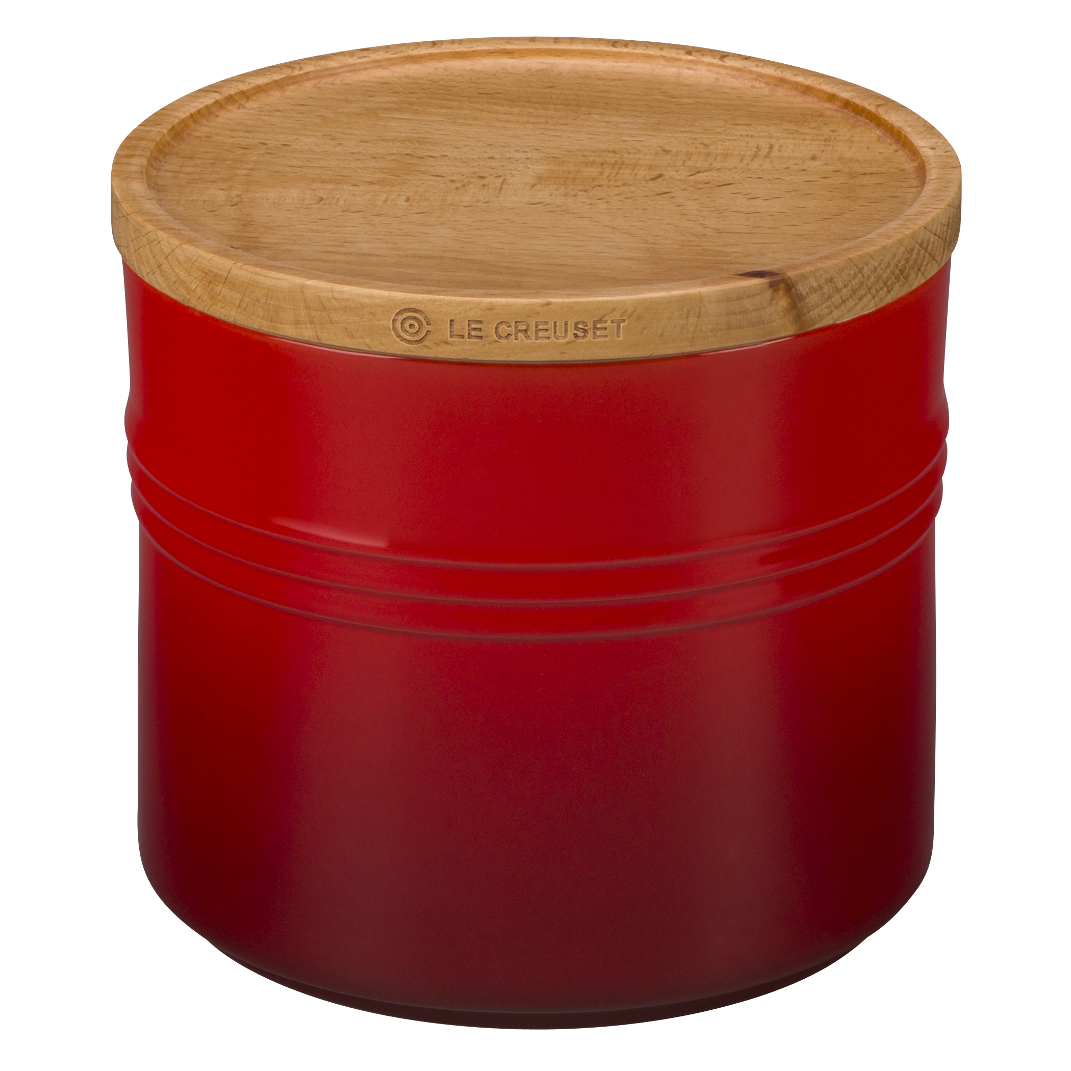 Le Creuset Cherry Stoneware 1.5 Quart Canister with Wooden Lid