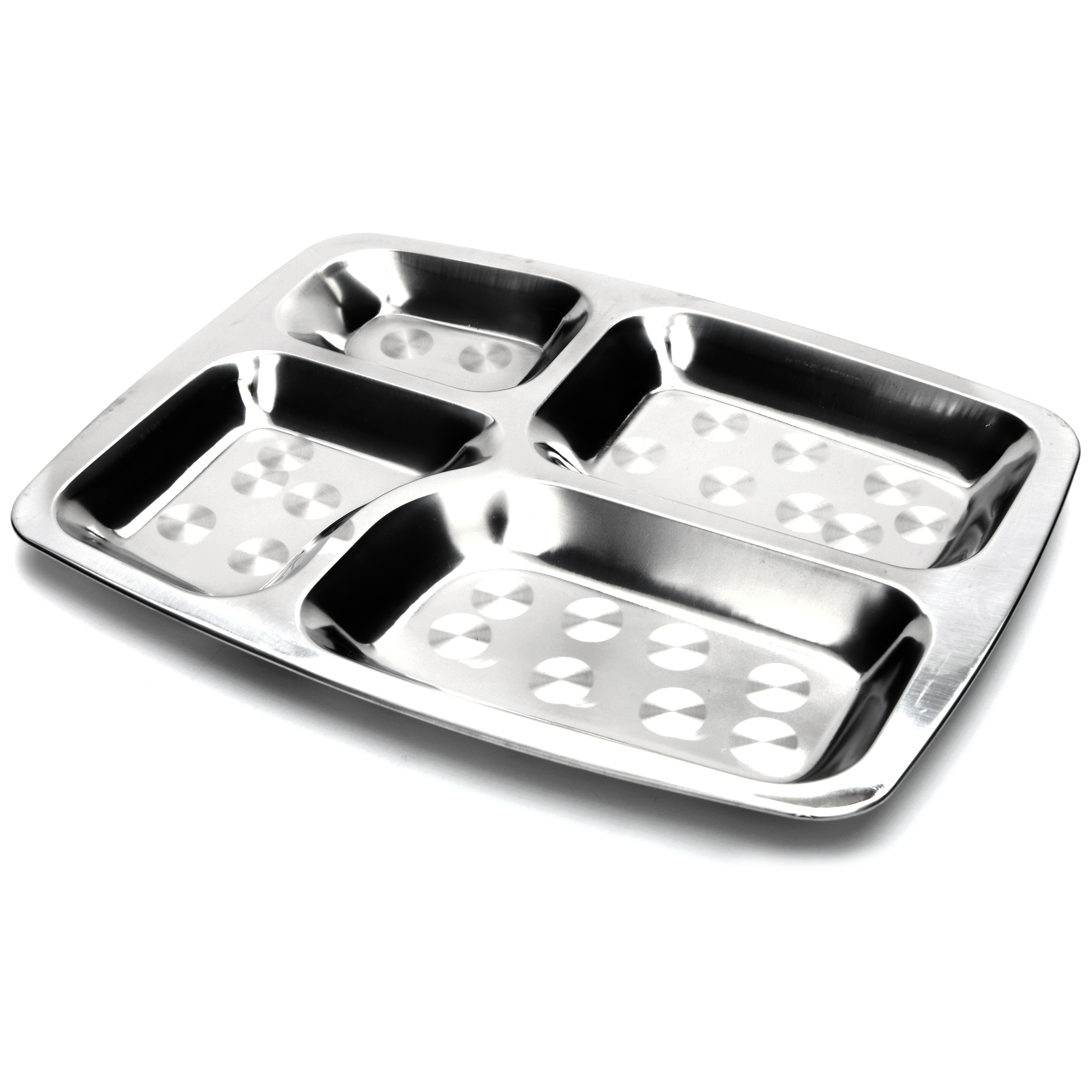 Onyx Stainless Steel Rectangular Divided Lunch Tray, Set of 2
