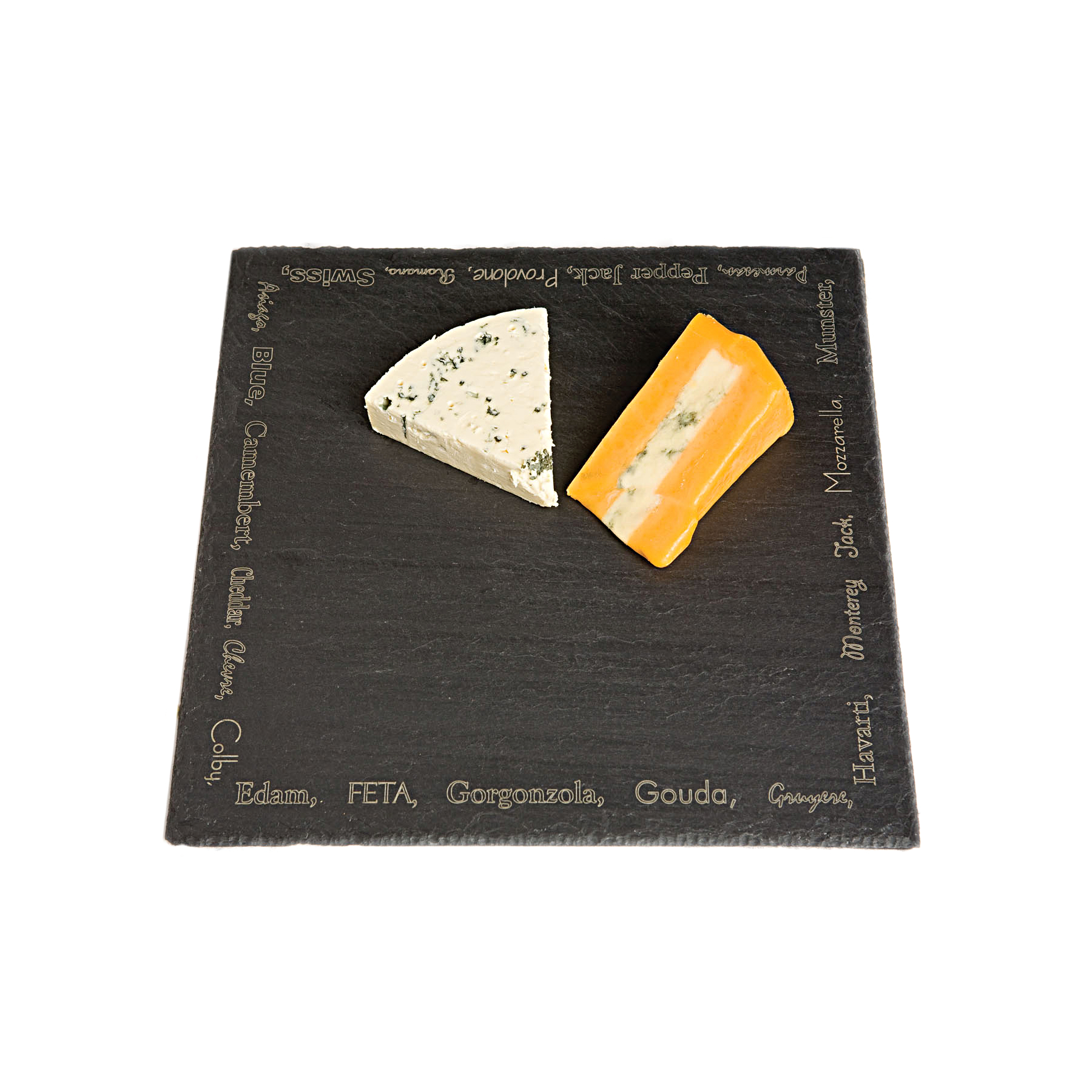 JK Adams Slate 12 x 12 Inch Cheese Tray with Cheese Name Border