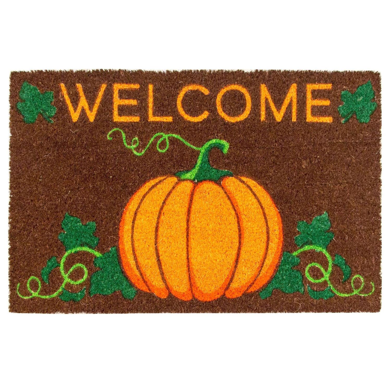 Entryways Welcome Pumpkin Hand-Woven Coir Welcome Mat