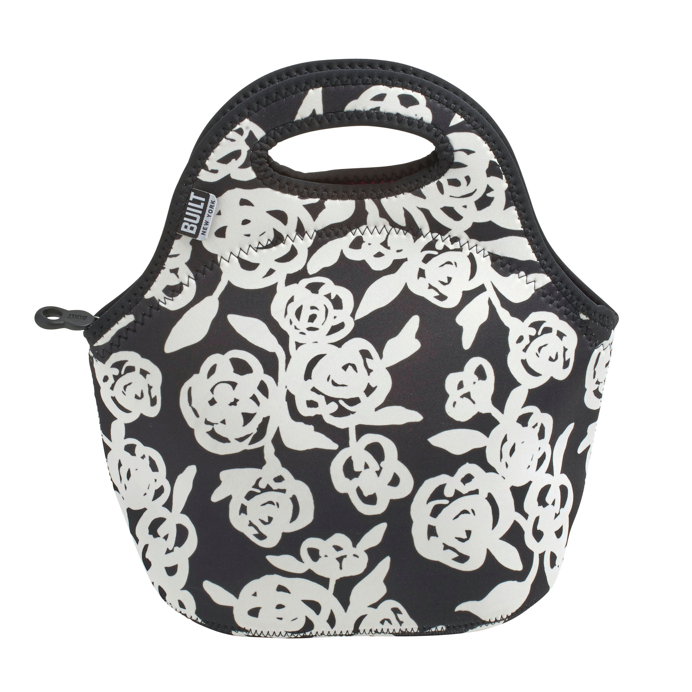 Built NY Gourmet Getaway Black and White Garden Rose Lunch Tote