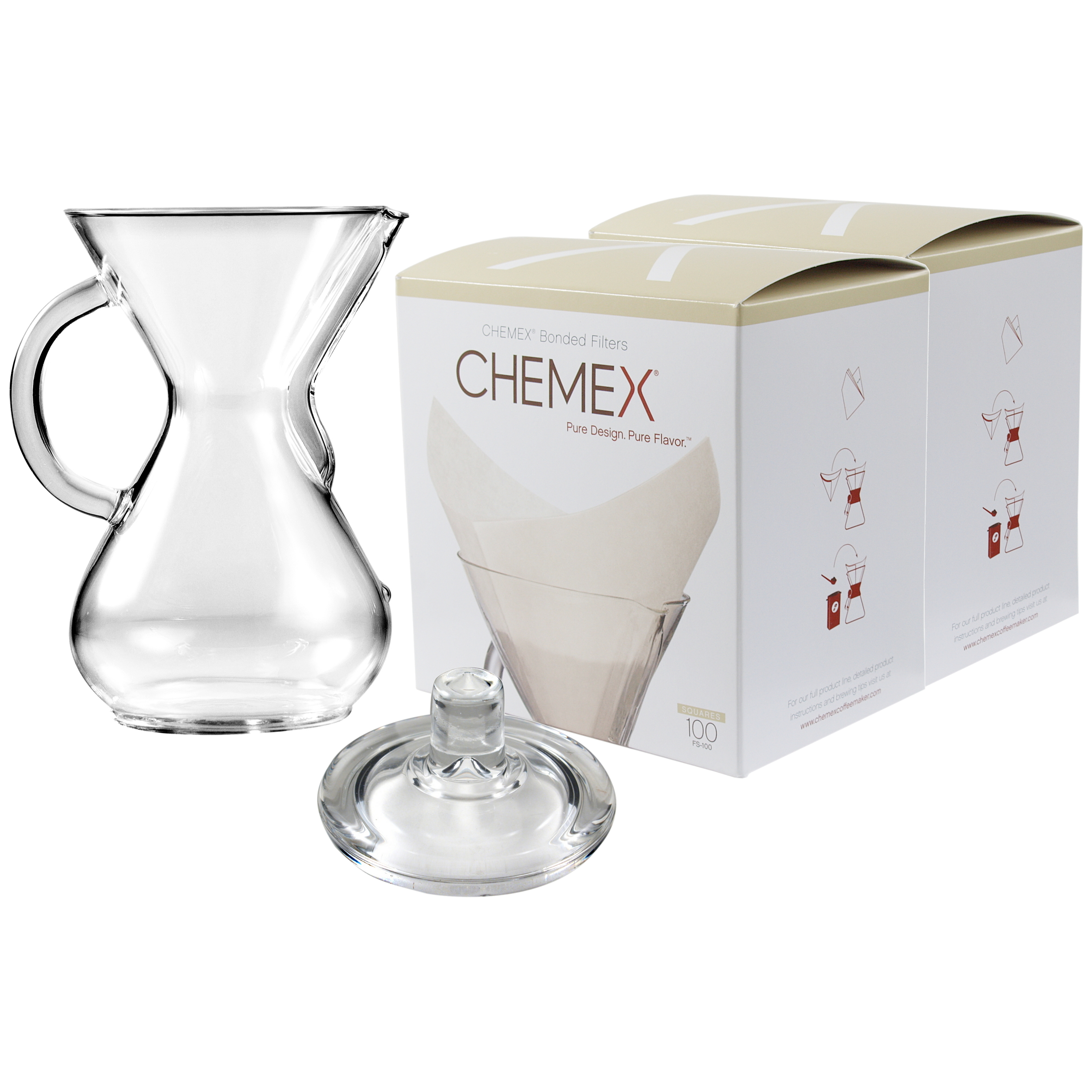 Chemex Glass 30 Ounce Coffee Maker with Cover and 200 Count Oxygen Cleansed Bonded Square Coffee Filters
