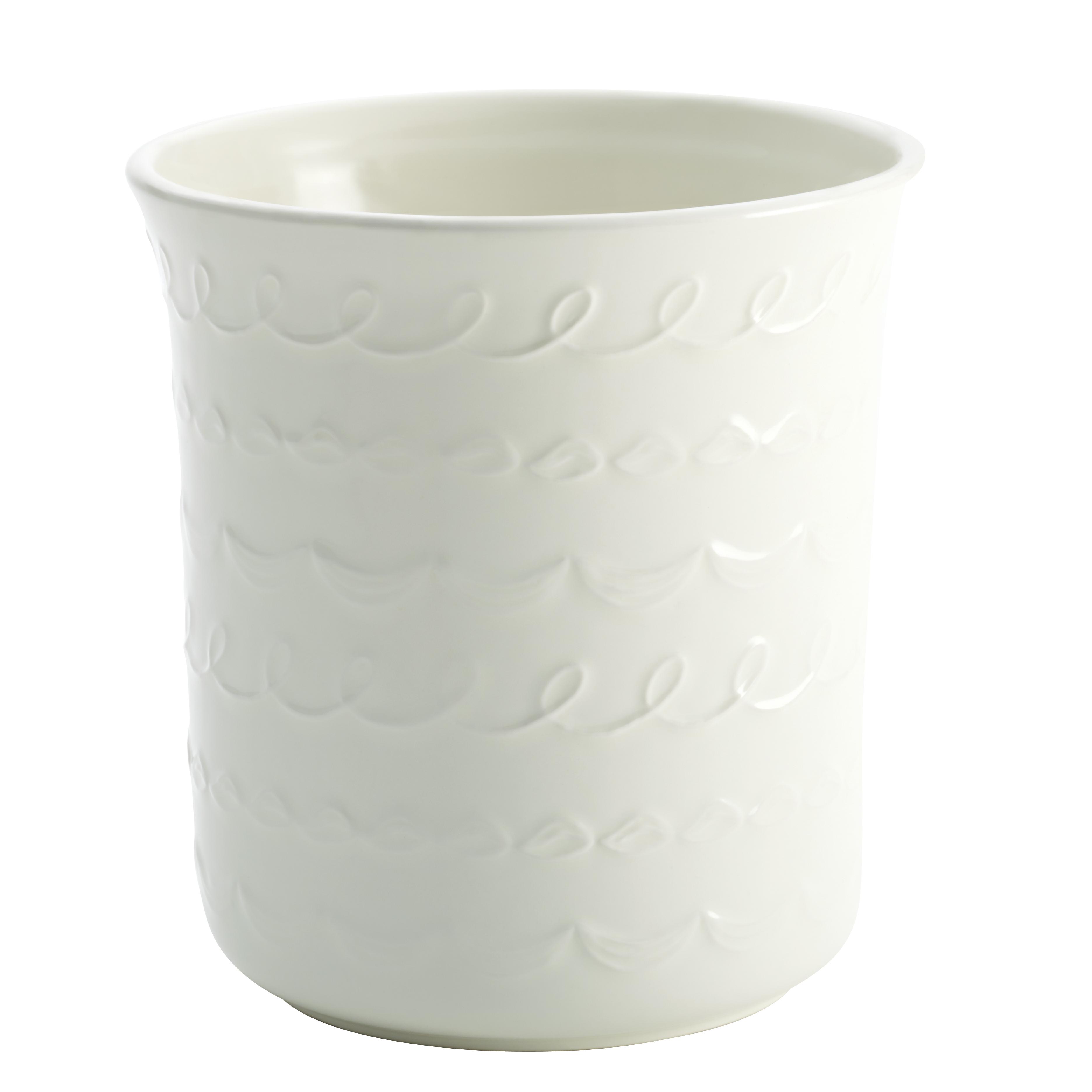 Cake Boss White Ceramic Icing Pattern Utensil Crock