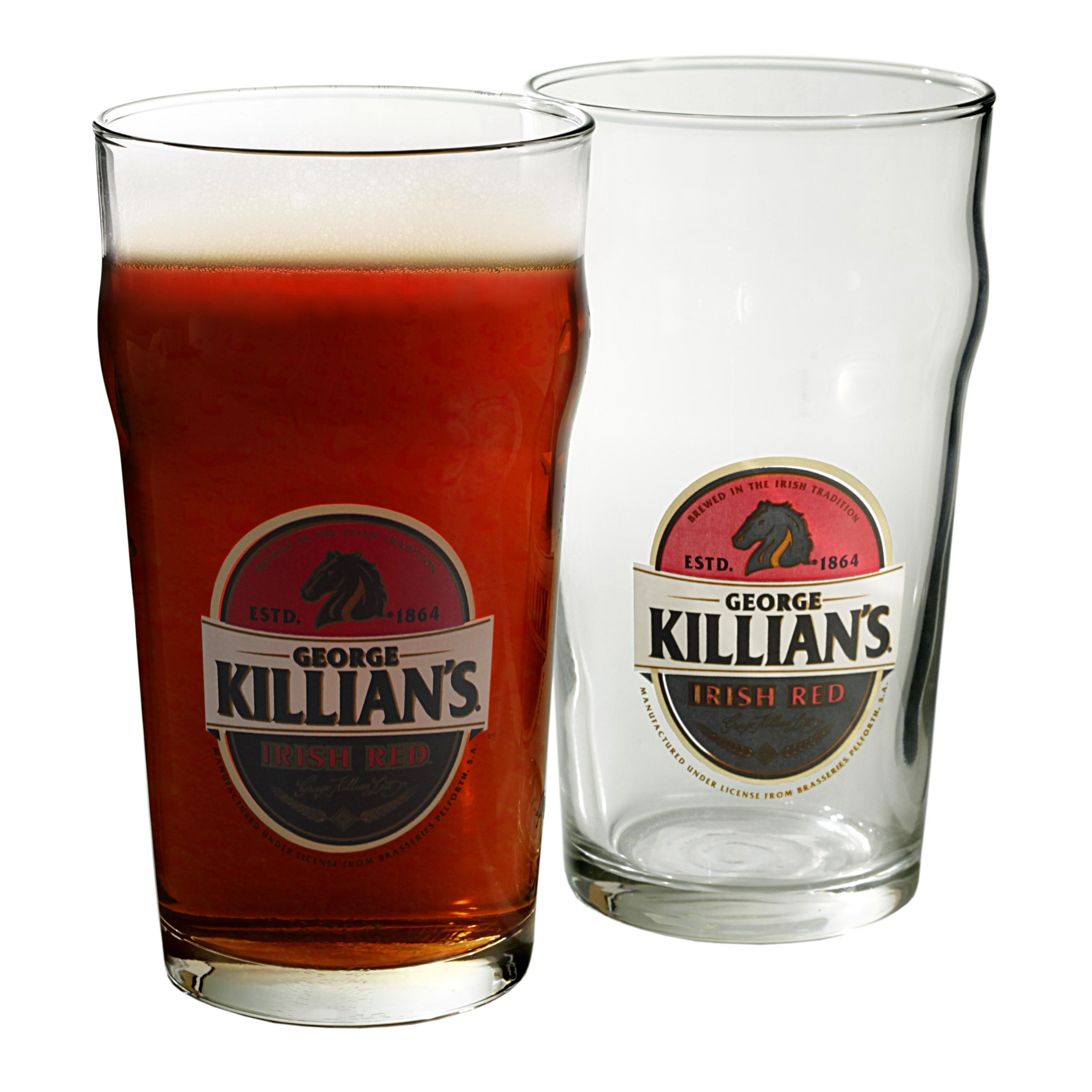 George Killian's Irish Red 16 Ounce Nonic Pint Beer Glass, Set of 4