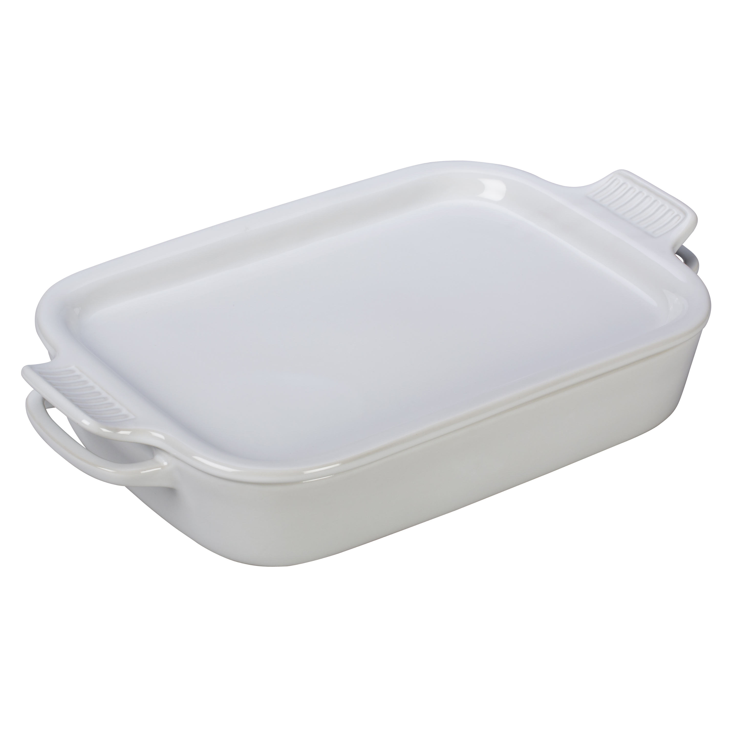 Le Creuset White Stoneware Rectangular Baking Dish with Platter Lid
