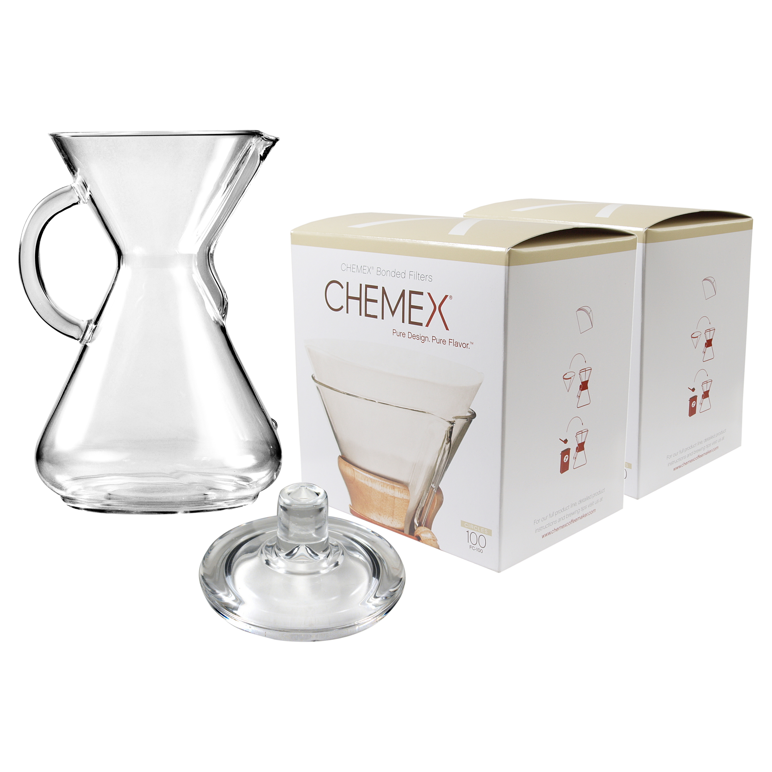 Chemex Glass 50 Ounce Coffee Maker with Cover and 200 Count Bonded Circle Coffee Filters