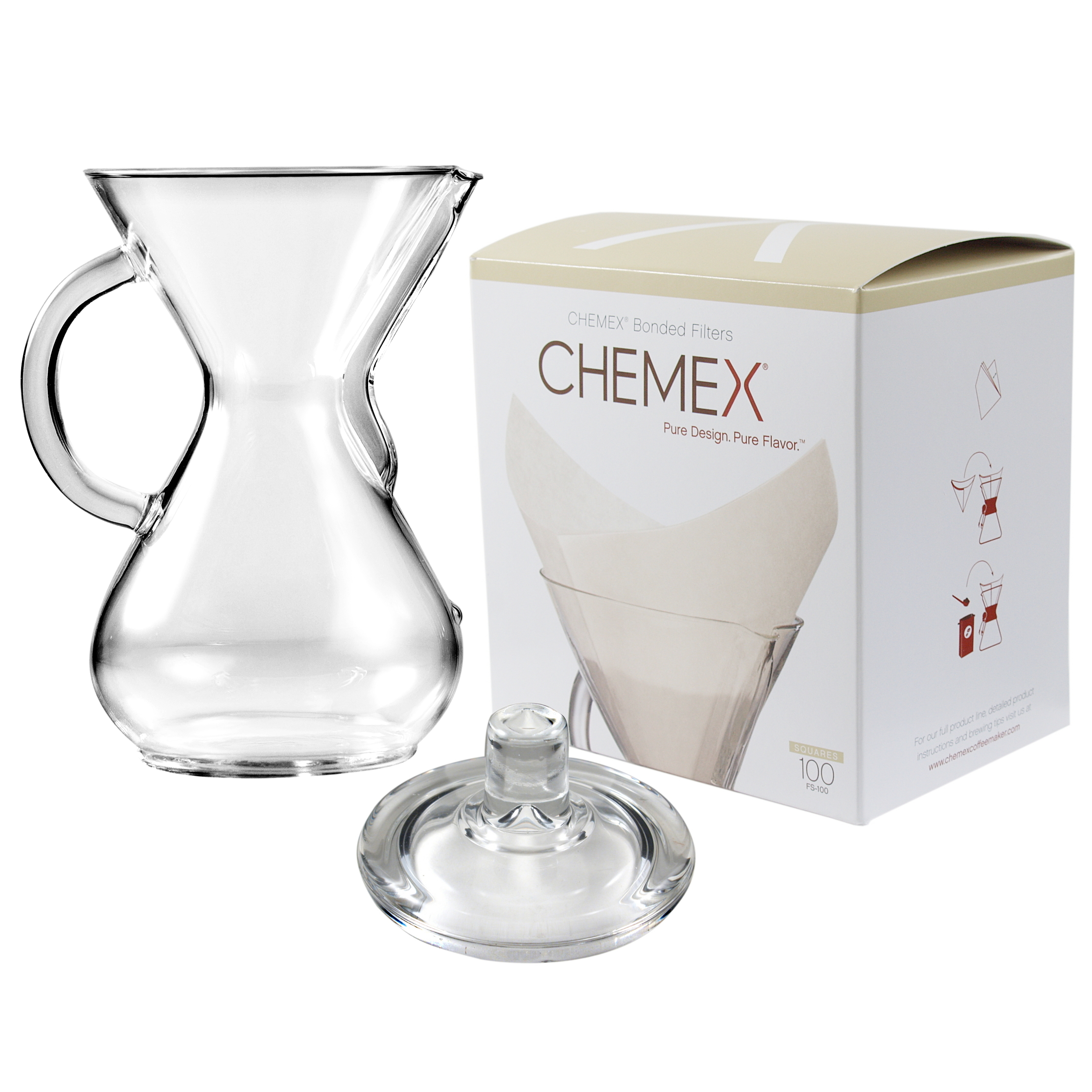 Chemex Glass 30 Ounce Coffee Maker with Cover and 100 Count Oxygen Cleansed Bonded Square Coffee Filters