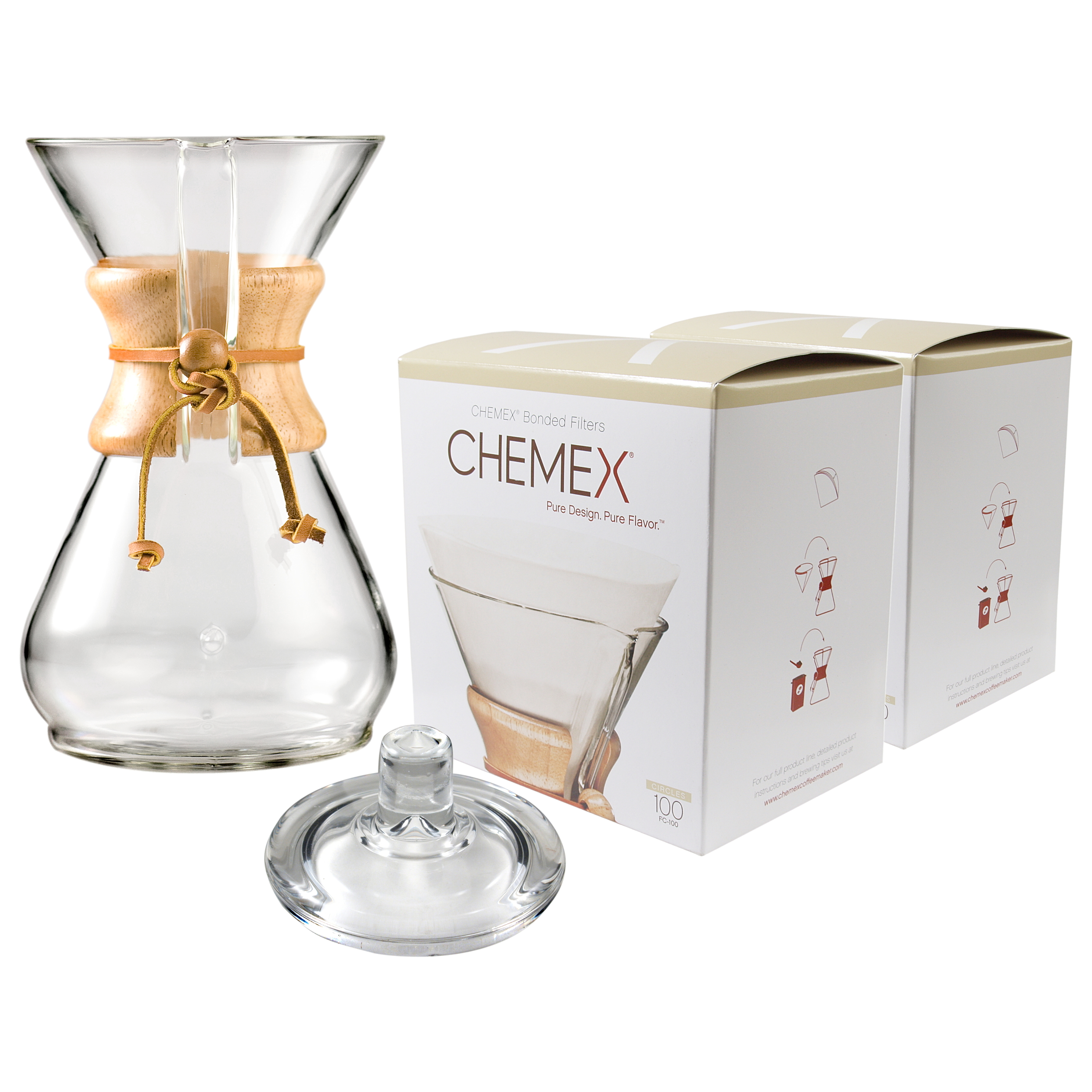 Chemex Classic Wood Collar and Tie Glass 40 Ounce Coffee Maker with Cover and 200 Count Bonded Circle Coffee Filters