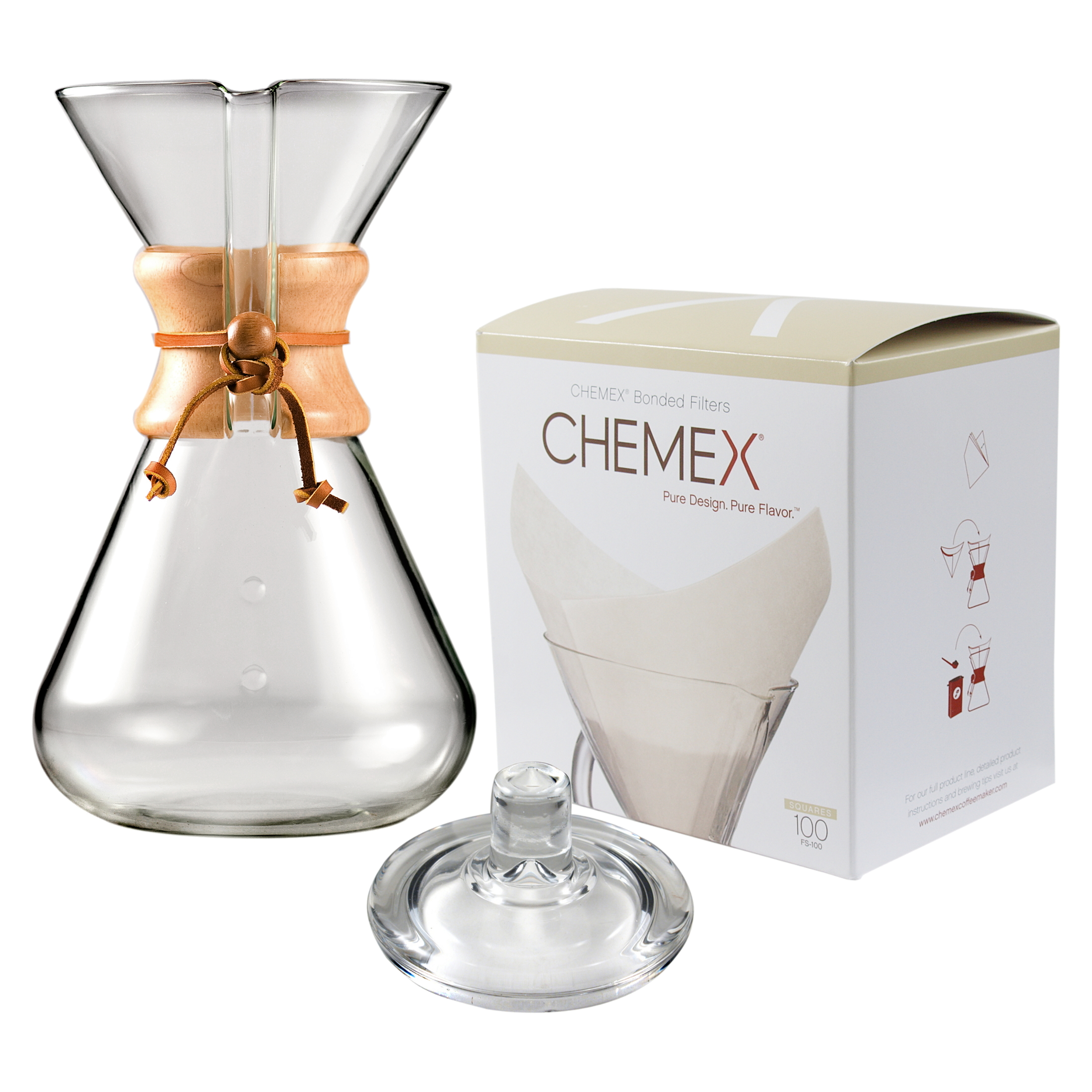 Chemex Wood Collar and Tie Glass 65 Ounce Coffee Maker with Cover and 100 Count Oxygen Cleansed Bonded Square Coffee Filters