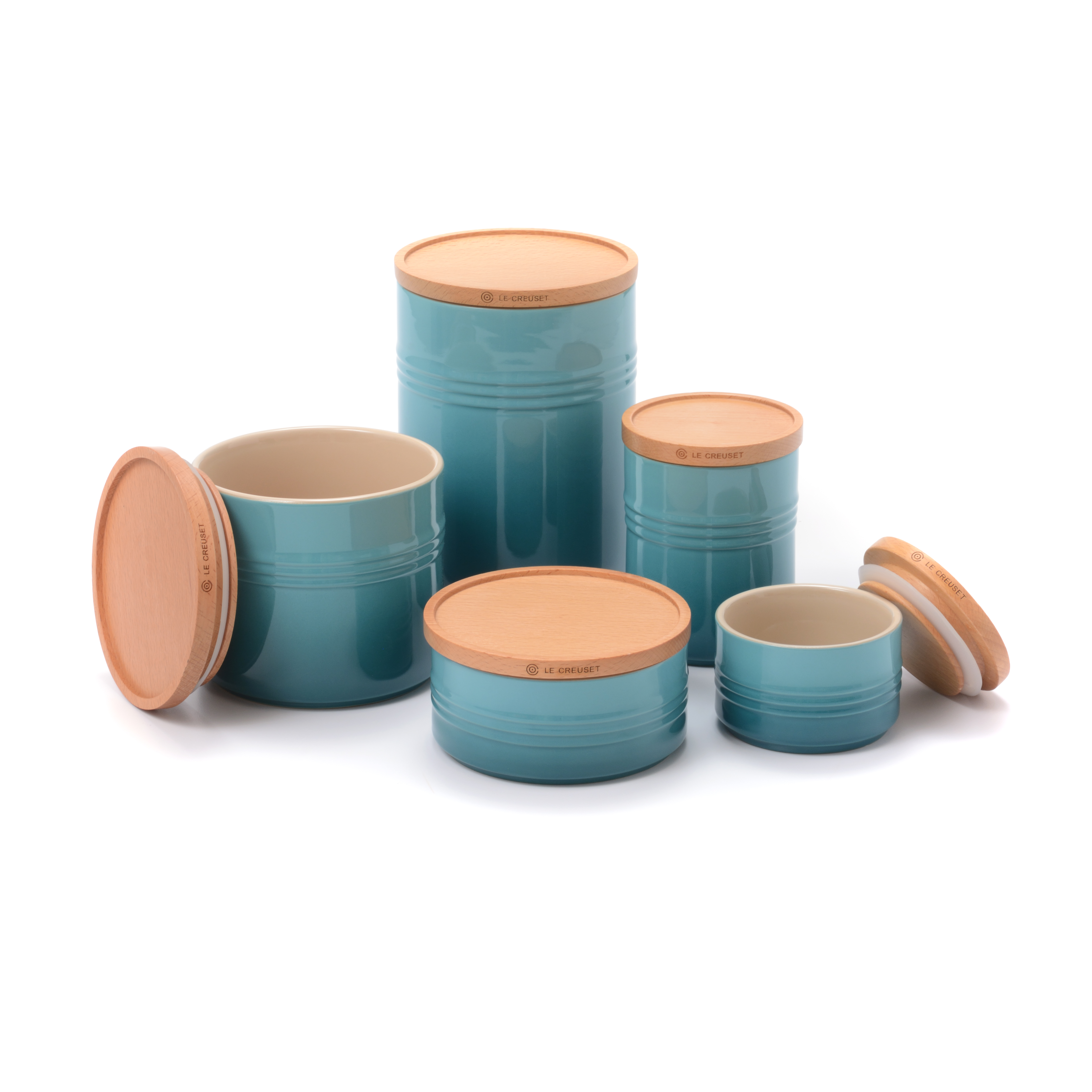Le Creuset Caribbean Stoneware 5 Piece Canister with Wooden Lid Set