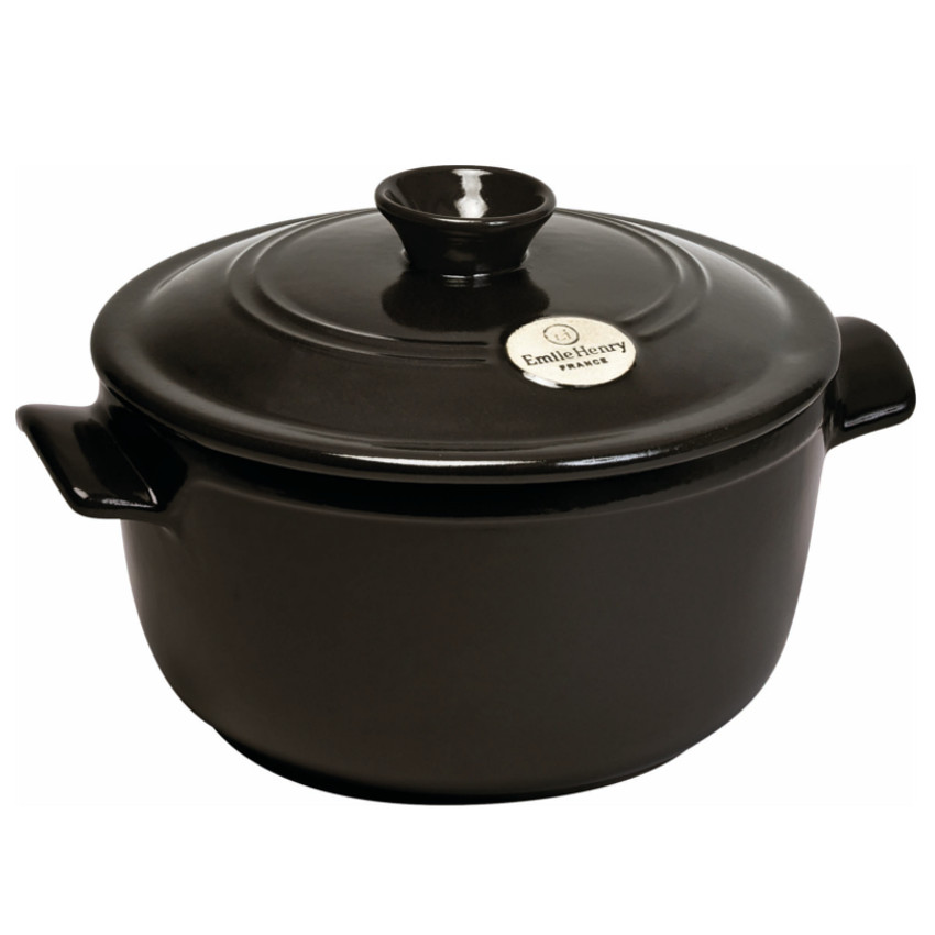 Emile Henry Flame Charcoal Ceramic 2.6 Quart Round Stewpot