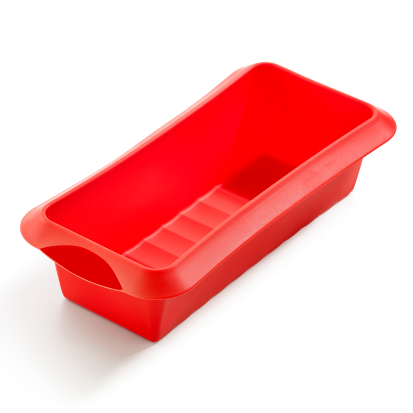 Lékué Red Silicone 9.5 x 4 Inch Loaf Baking Mold