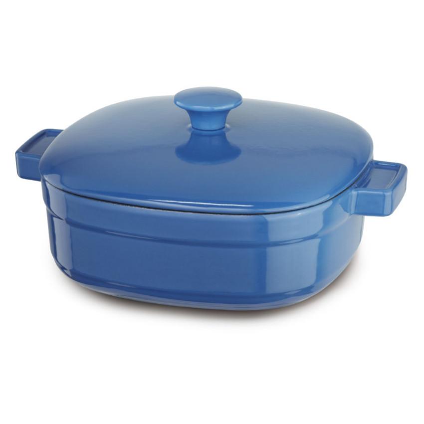 KitchenAid KCLI40CRNB Streamline Spring Blue Cast Iron 4-Quart Casserole Dish with Lid