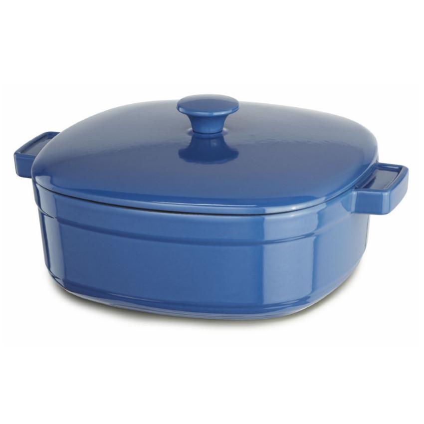 KitchenAid KCLI60CRNB Streamline Spring Blue Cast Iron 6-Quart Casserole Dish with Lid