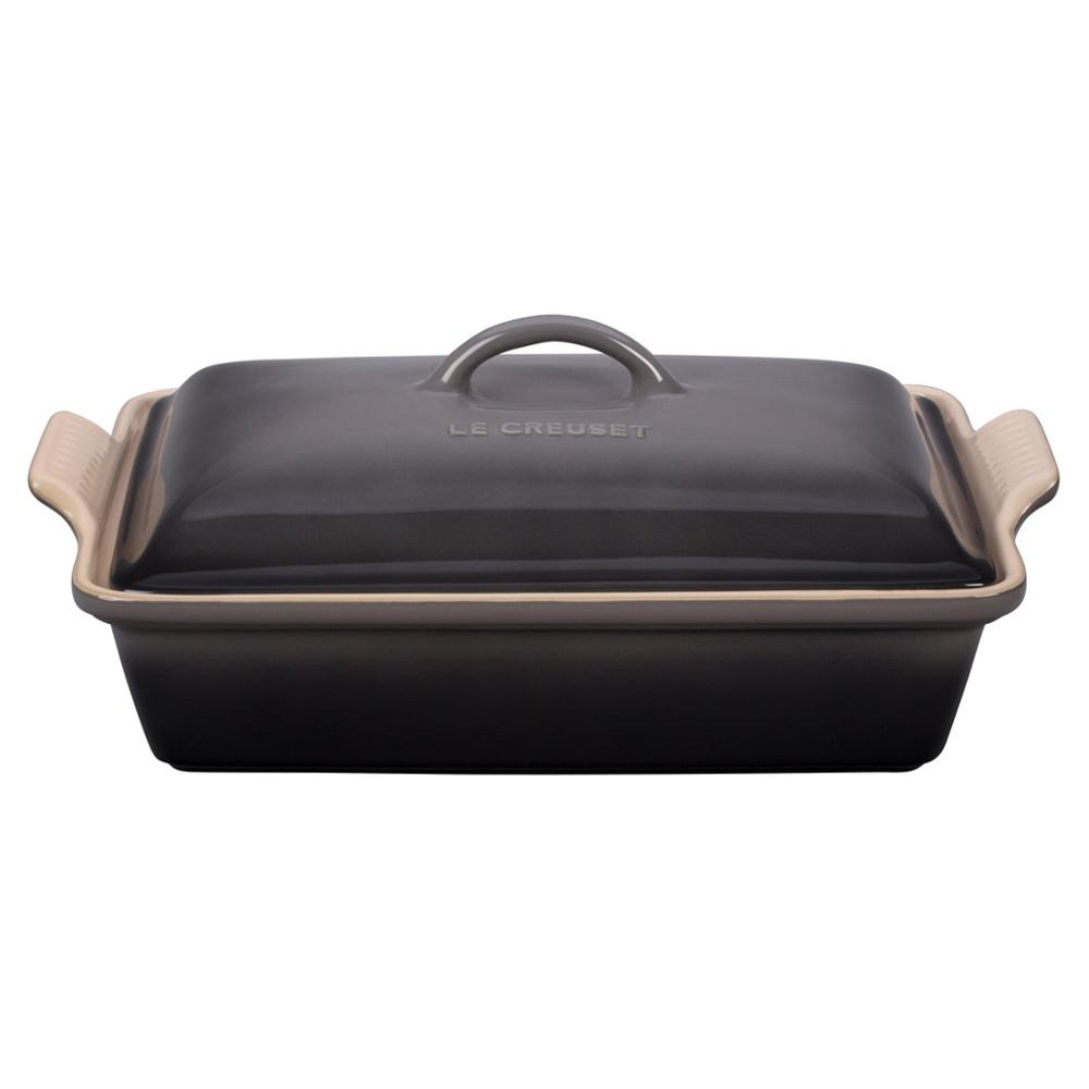 Le Creuset Oyster Heritage Stoneware Covered 4 Quart Rectangular Casserole Dish