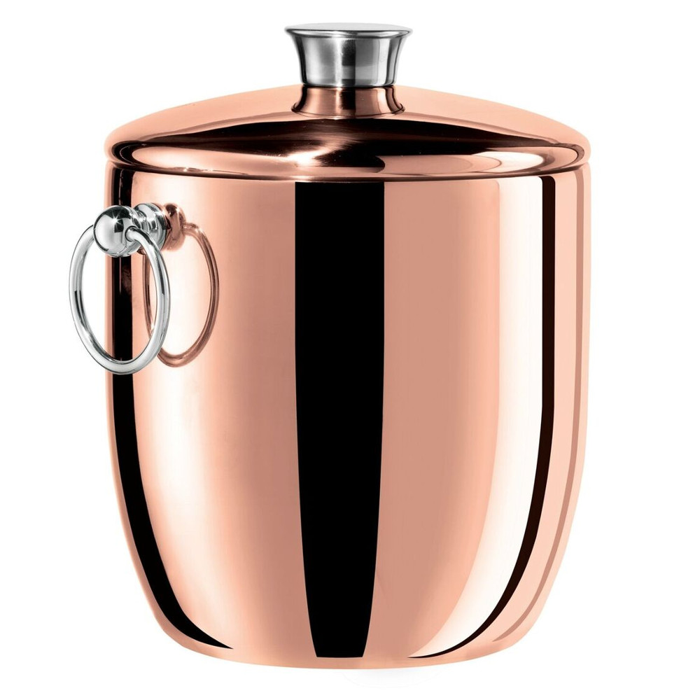 Oggi Copper Plated Stainless Steel 3 Quart Ice Bucket with Tongs