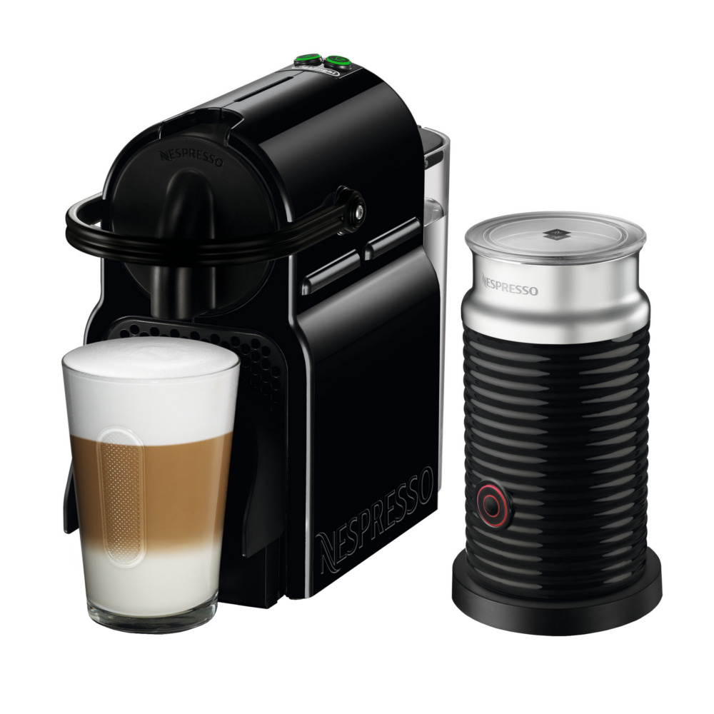 DeLonghi Nespresso Inissia Black Espresso Machine with Aeroccino Milk Frother