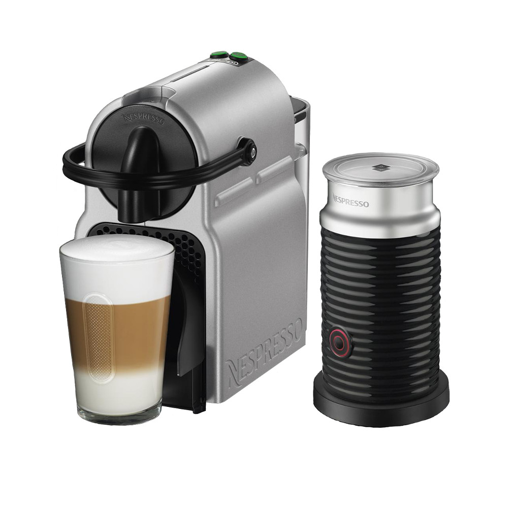 DeLonghi Nespresso Inissia Silver Espresso Machine with Aeroccino Milk Frother