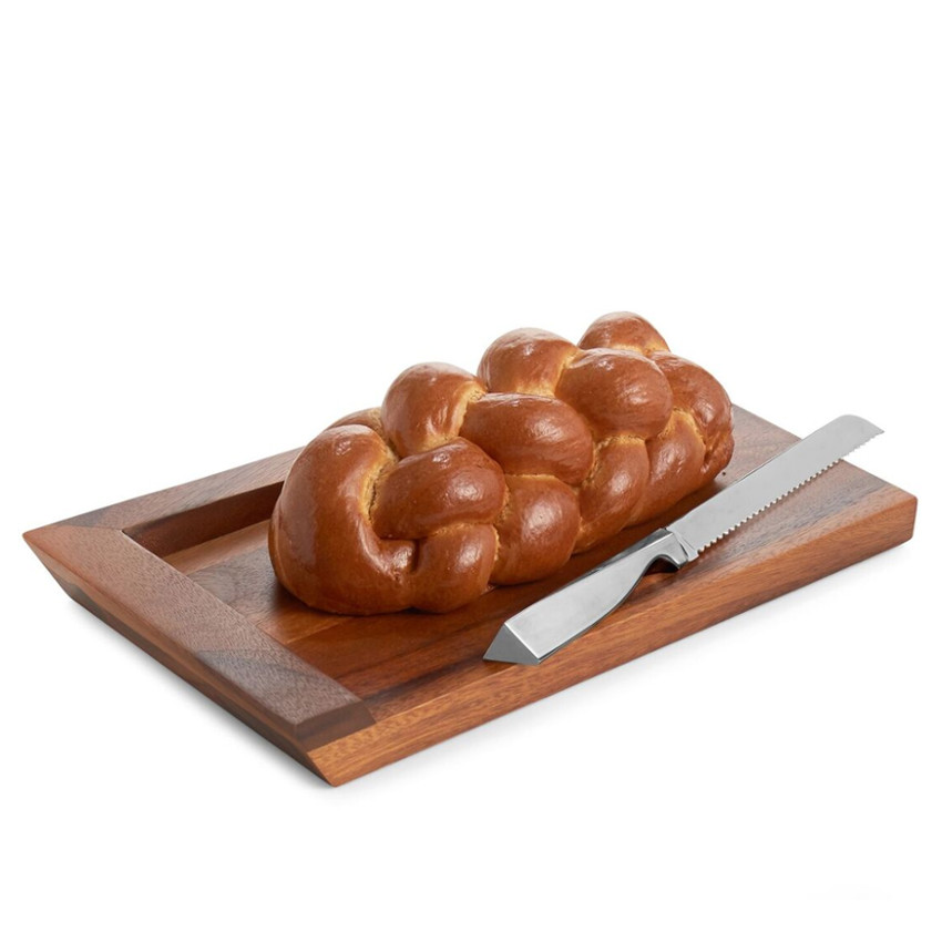 Nambe Geo Wood and Alloy Challah Bread Board with Knife